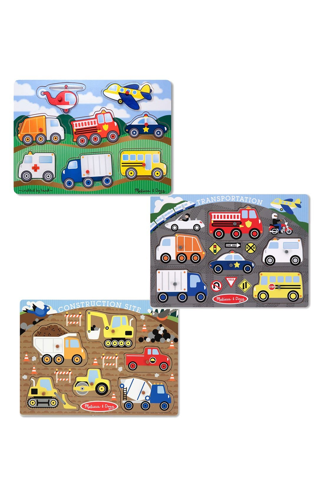 Vehicle Peg Puzzles,                             Main thumbnail 1, color,                             Brown