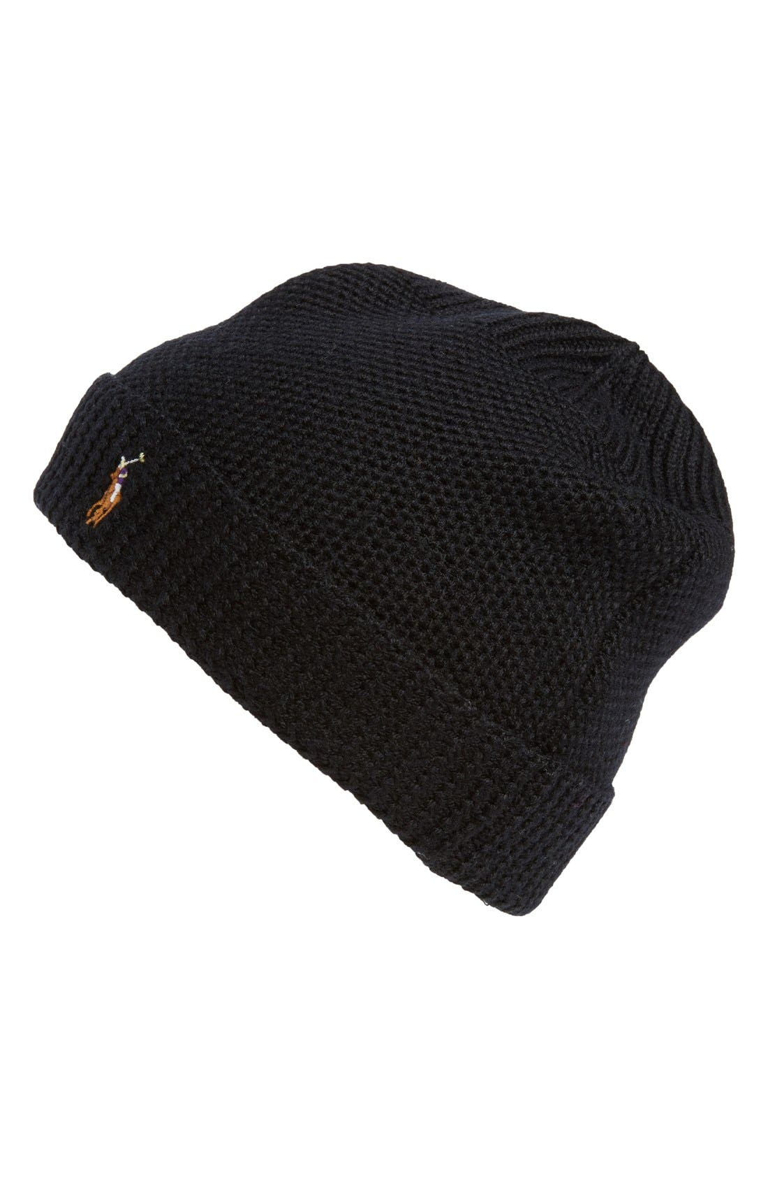 Merino Wool Beanie,                         Main,                         color, Polo Black