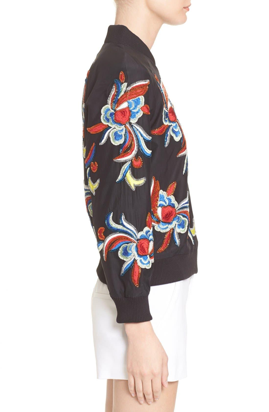 'Felisa' Embellished Silk Bomber Jacket,                             Alternate thumbnail 3, color,                             Black/ Multi