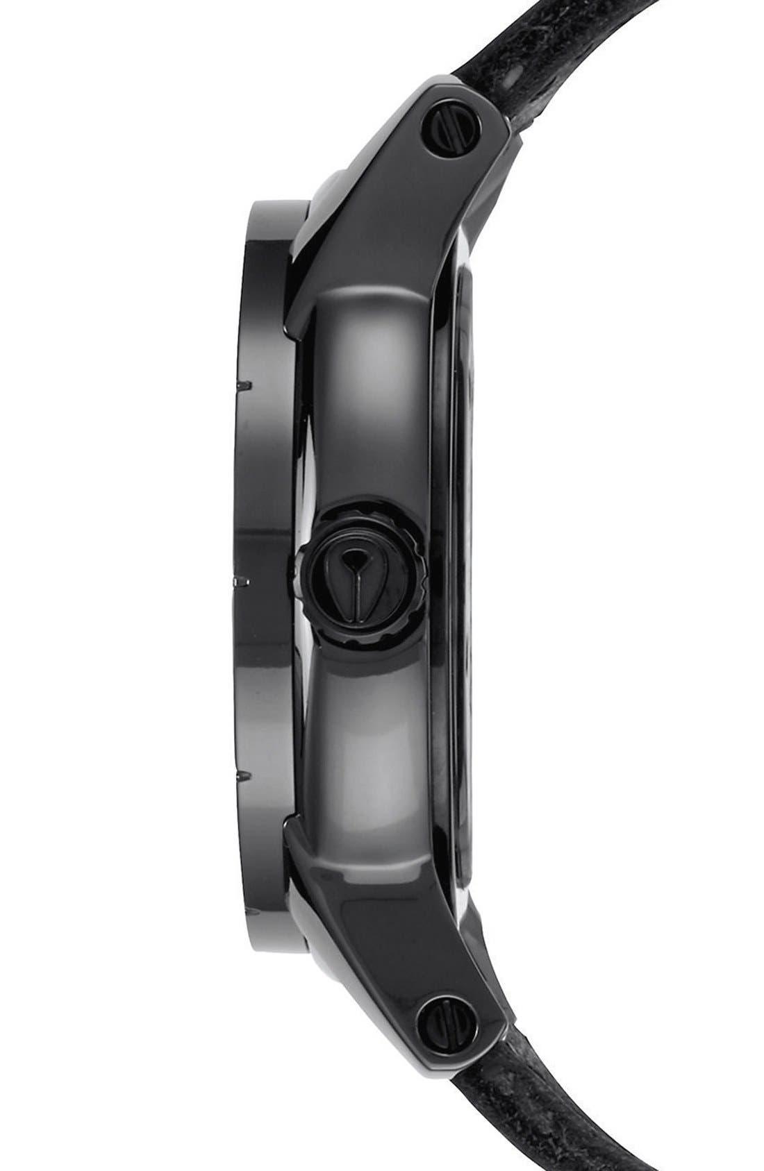 'The Patriot' Leather Strap Watch, 45mm,                             Alternate thumbnail 3, color,                             Black/ Black