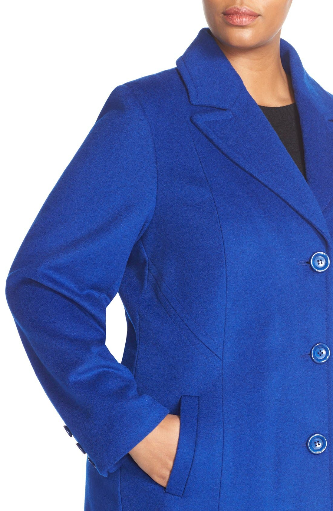 Notch Collar Wool Blend Coat,                             Alternate thumbnail 4, color,                             Cobalt