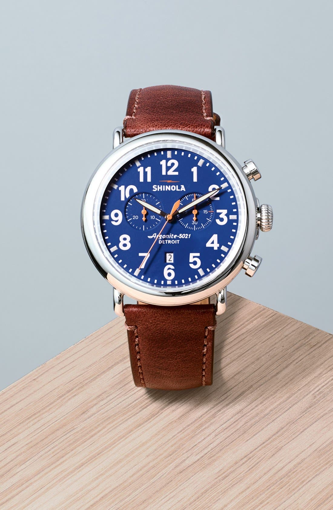 The Runwell Chrono Leather Strap Watch, 47mm,                             Alternate thumbnail 4, color,