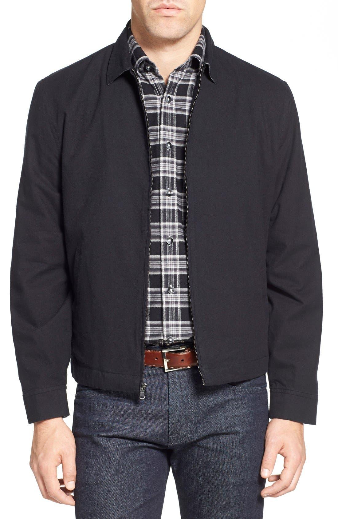 'Sedona' Zip Front Canvas Jacket,                             Main thumbnail 1, color,                             Black Combo