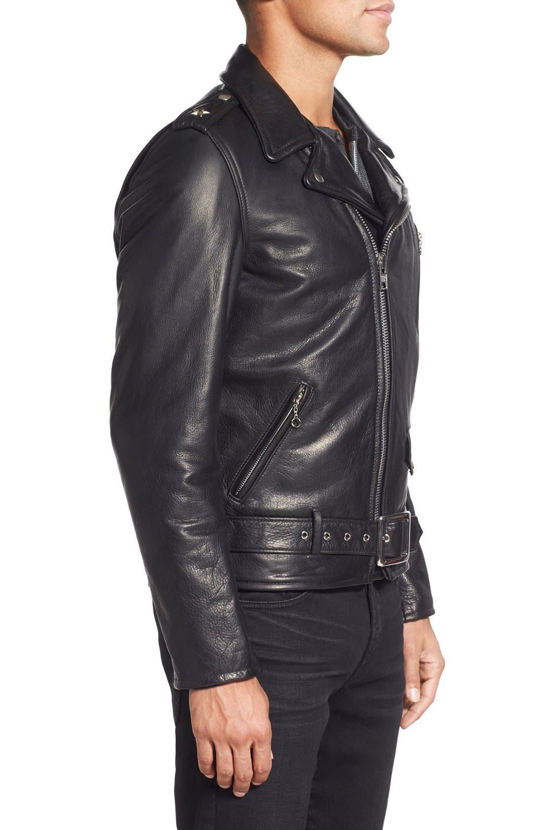 Alternate Image 3  - Schott NYC Perfecto Slim Fit Waxy Leather Moto Jacket