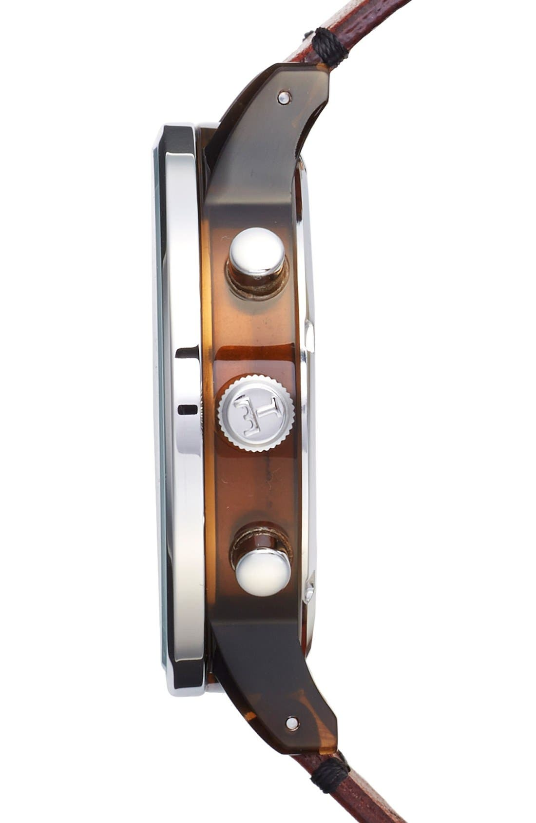 Havana Nevil Chronograph Leather Strap, 42mm,                             Alternate thumbnail 3, color,                             Brown/ Silver