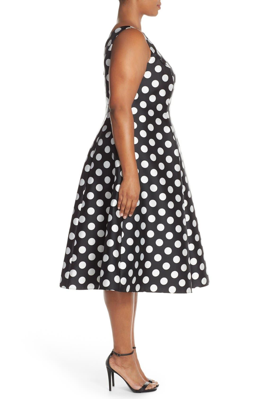 Alternate Image 3  - Adrianna Papell Sleeveless Mikado Fit & Flare Polka Dot Midi Dress (Plus Size)