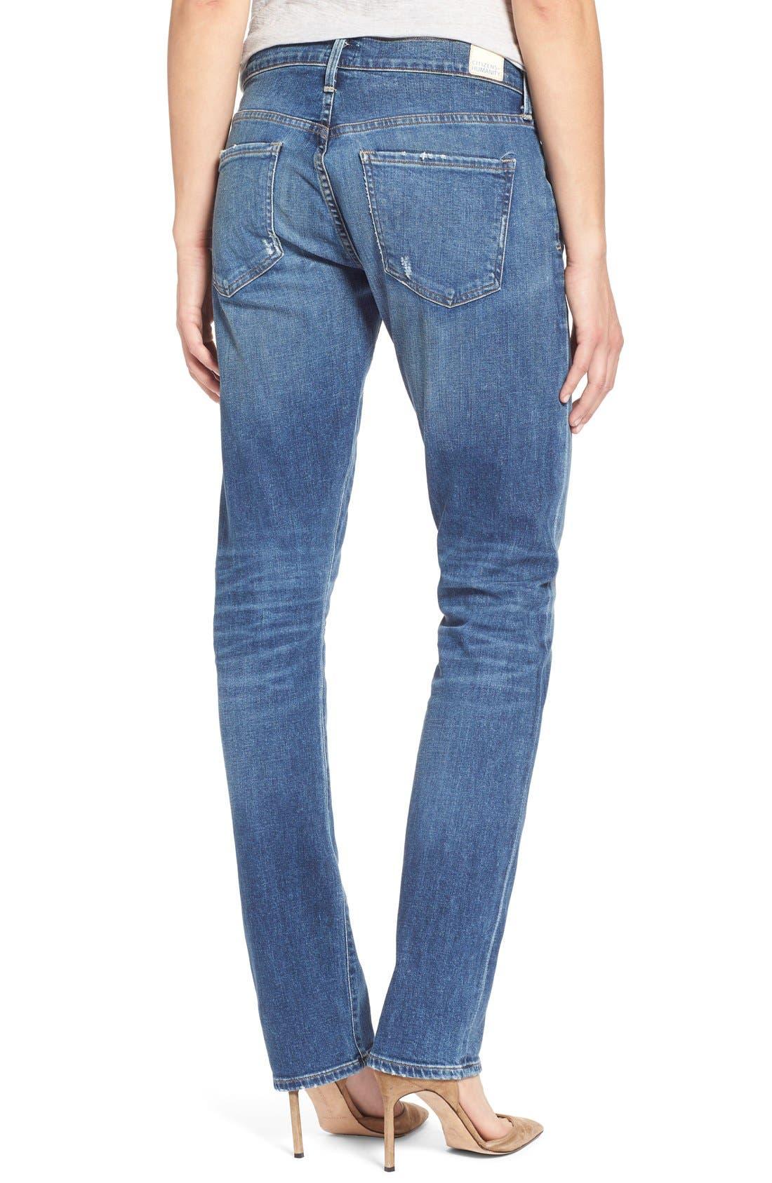 'Emerson Long' Slim Boyfriend Jeans,                             Alternate thumbnail 2, color,                             Blue Mountain
