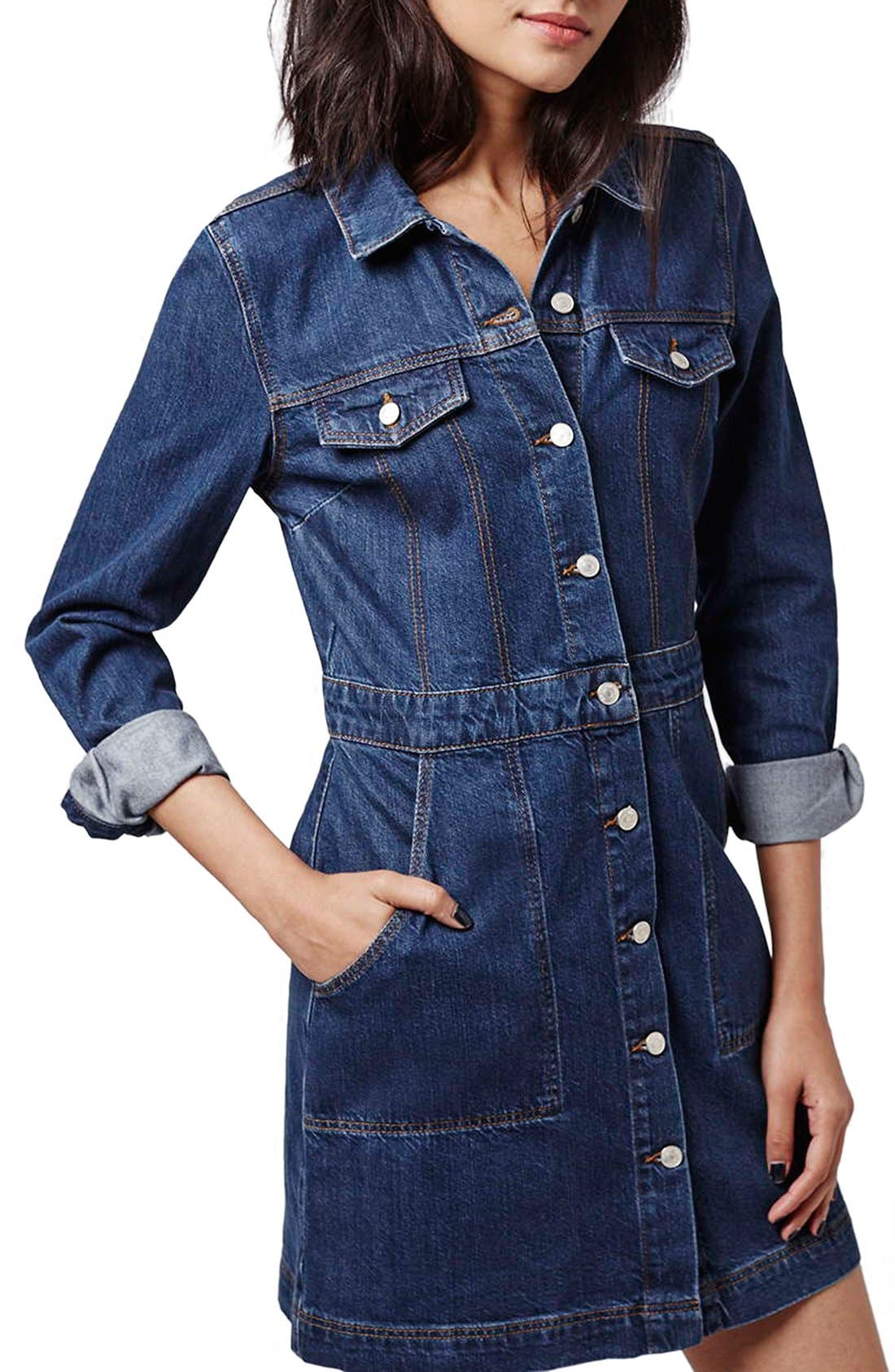 Alternate Image 3  - Topshop Denim Western Shirtdress