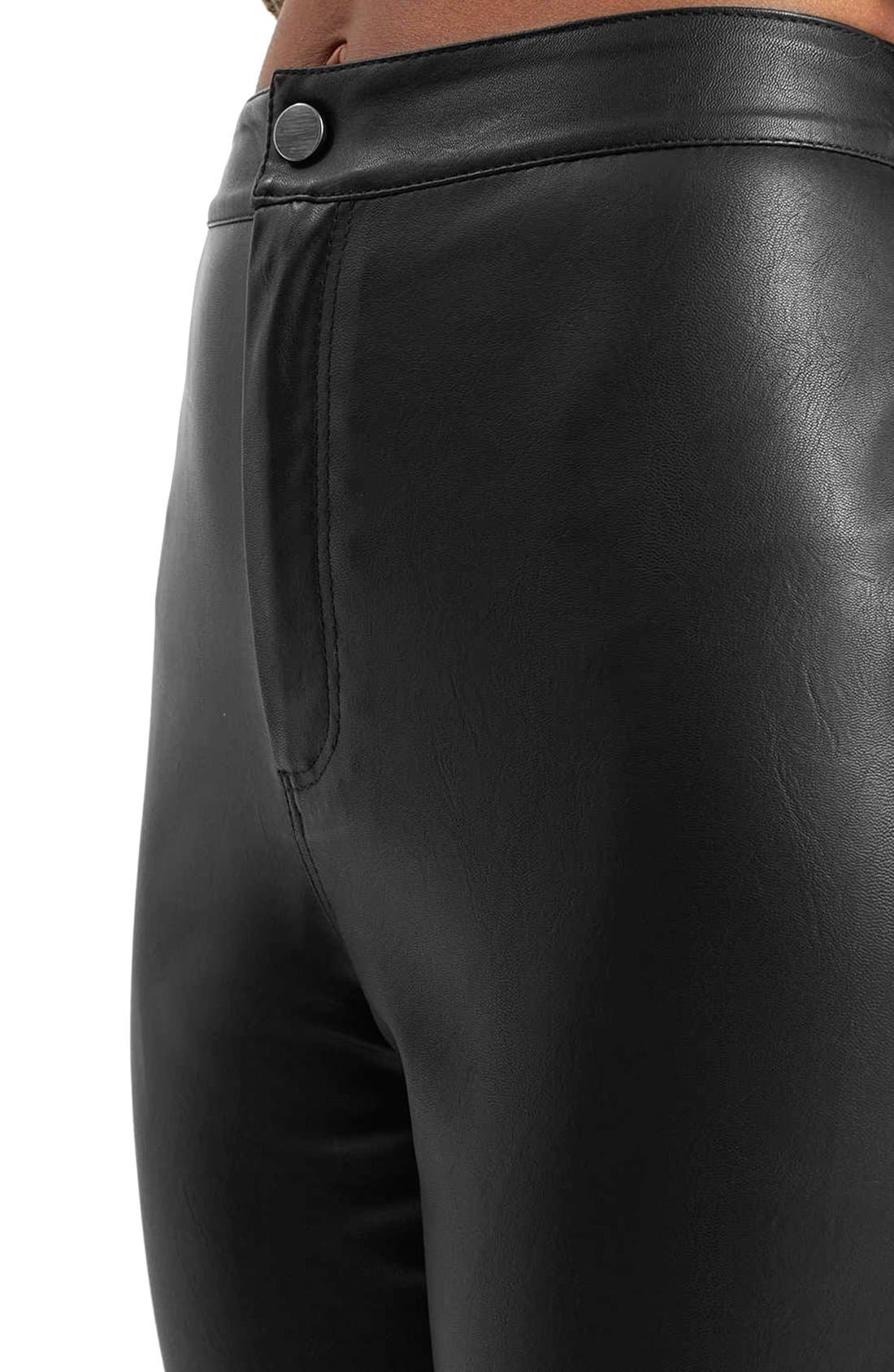 Faux Leather Crop Trousers,                             Alternate thumbnail 4, color,                             Black
