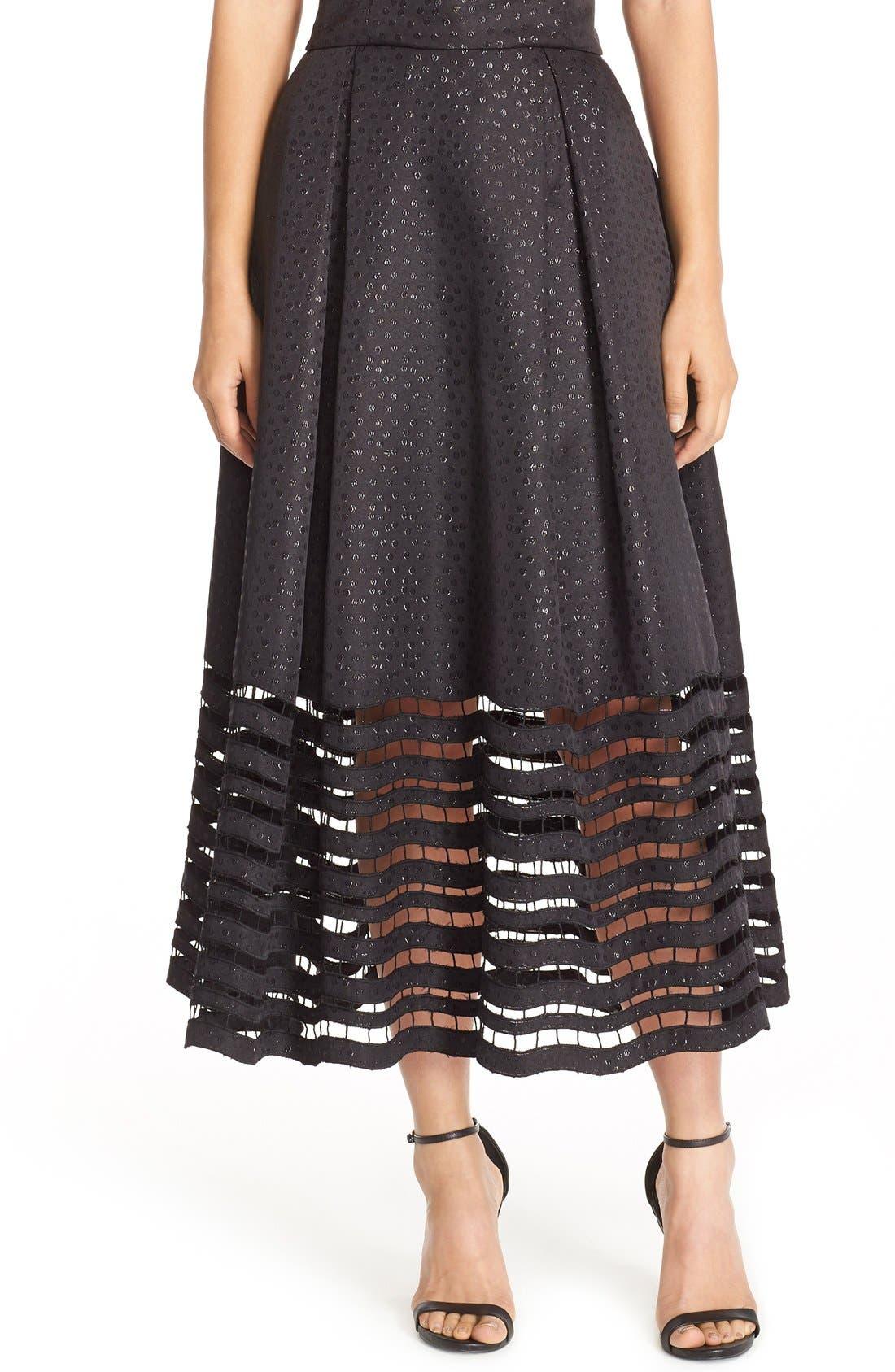 Alternate Image 1 Selected - Sachin & Babi Noir 'Dutch' Eyelet Metallic Jacquard Ball Skirt