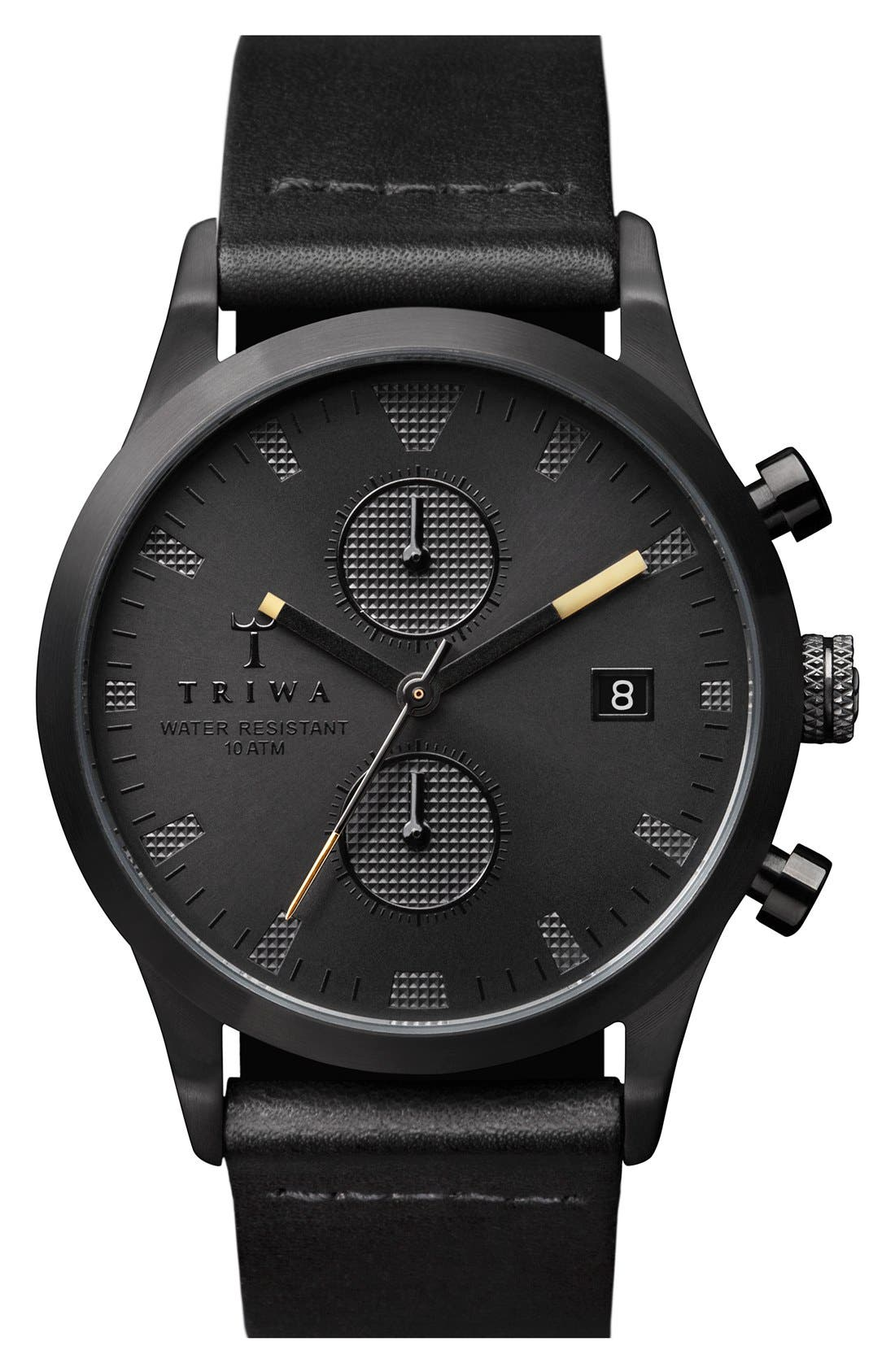 TRIWA Sort of Black Chronograph Leather Strap Watch, 38mm