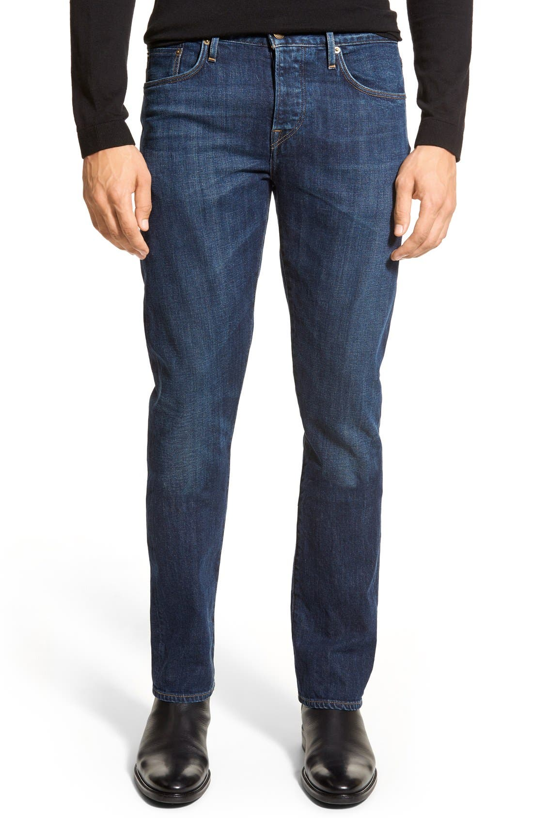 Main Image - Burberry Brit Straight Leg Jeans (Dark Indigo)