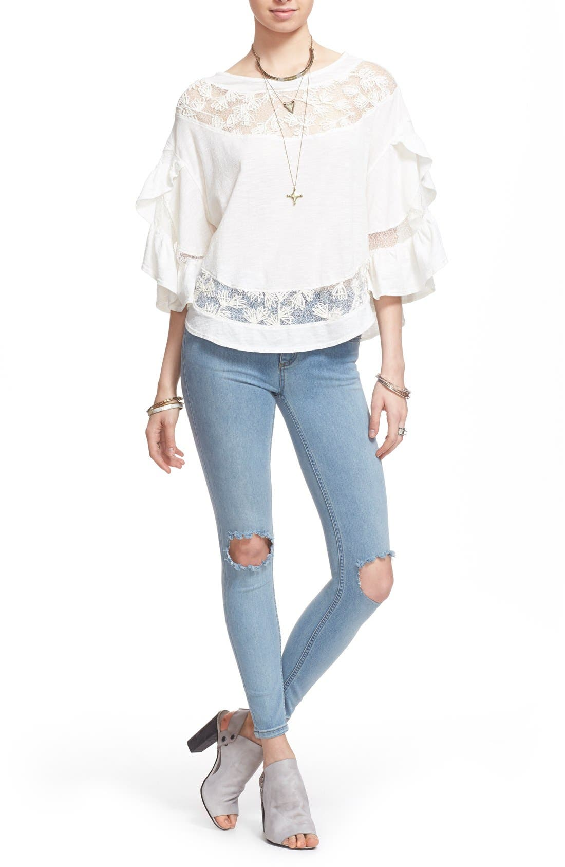 'Love Affair' Lace Inset Knit Top,                             Alternate thumbnail 2, color,                             Ivory