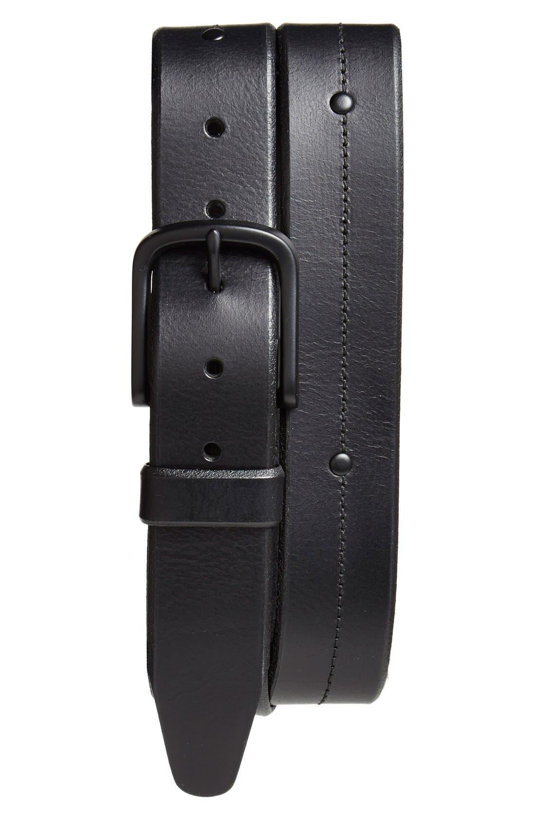 'Pierce Avenue' Leather Belt,                         Main,                         color, Black