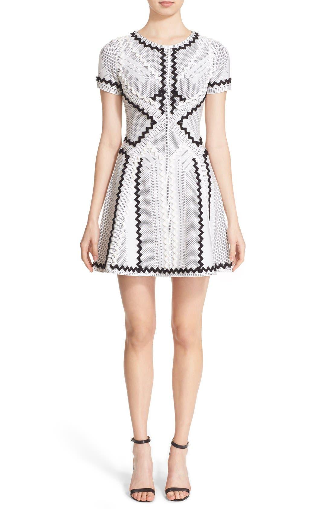 Alternate Image 1 Selected - Herve Leger 'Morena' Zigzag Appliqué Pointelle Knit Fit & Flare Dress