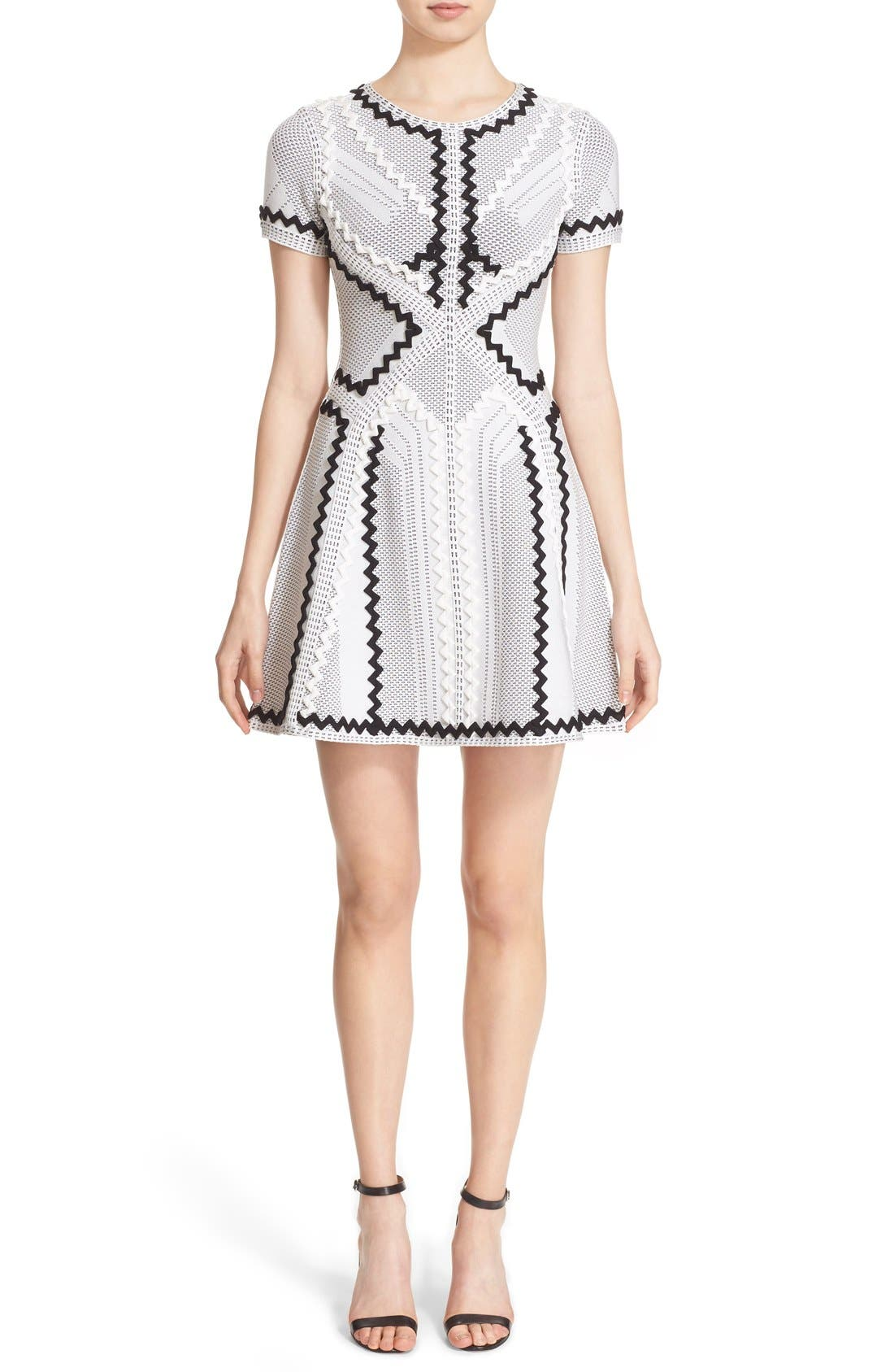 Main Image - Herve Leger 'Morena' Zigzag Appliqué Pointelle Knit Fit & Flare Dress