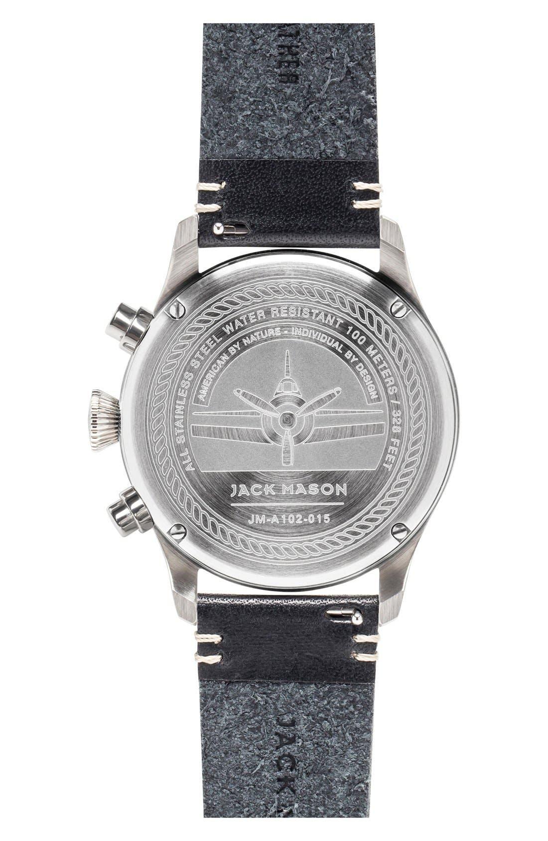 Chronograph Leather Strap Watch, 42mm,                             Alternate thumbnail 2, color,                             Black/ Silver/ Black