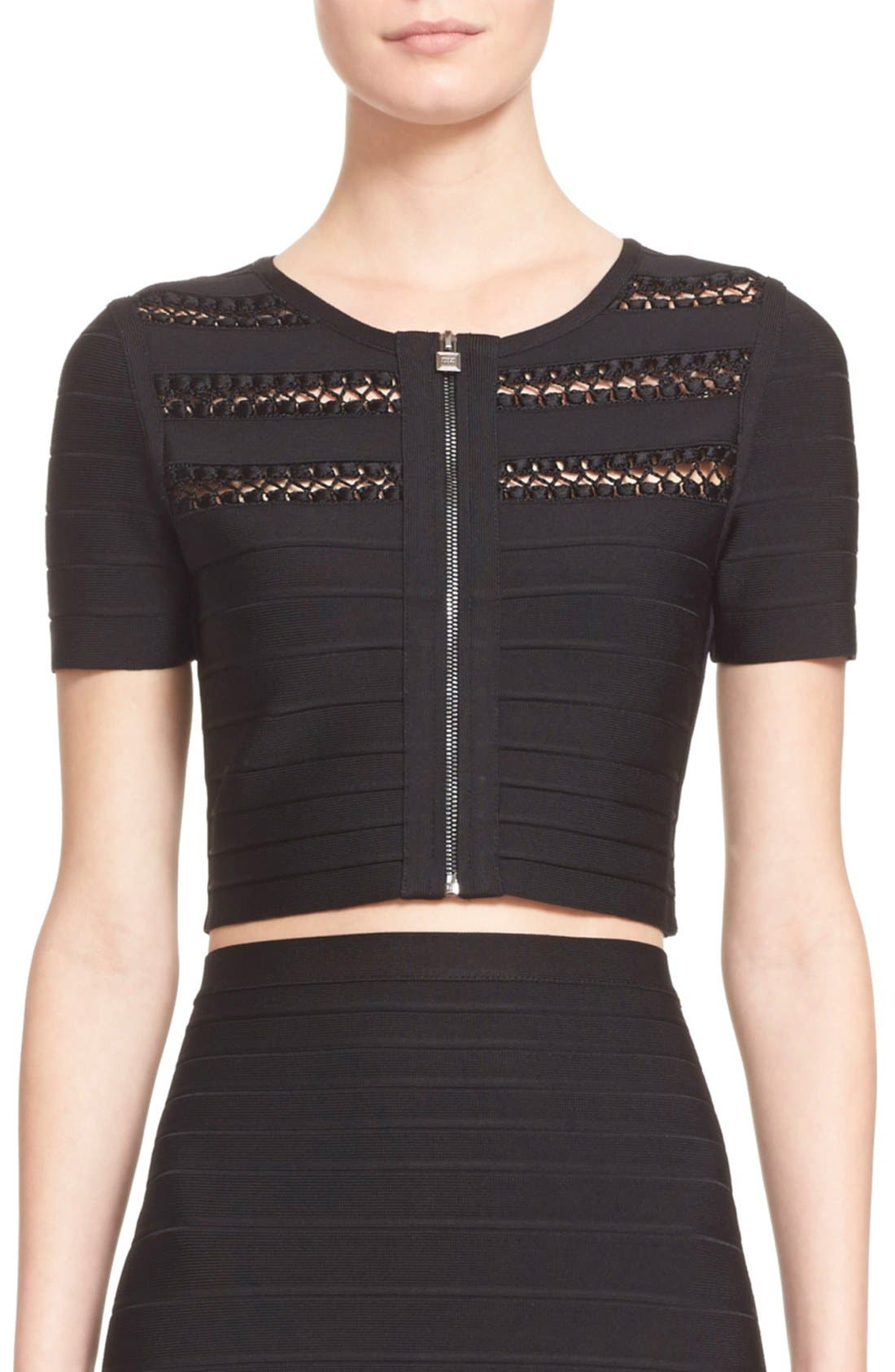 Main Image - Herve Leger 'Ghleanna' Cage Stitch Crop Jacket