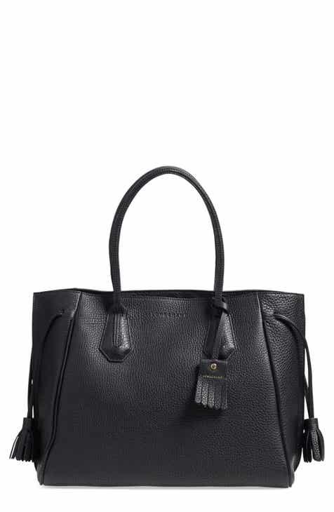 Longchamp Penelope Tassel Drawstring Leather Tote