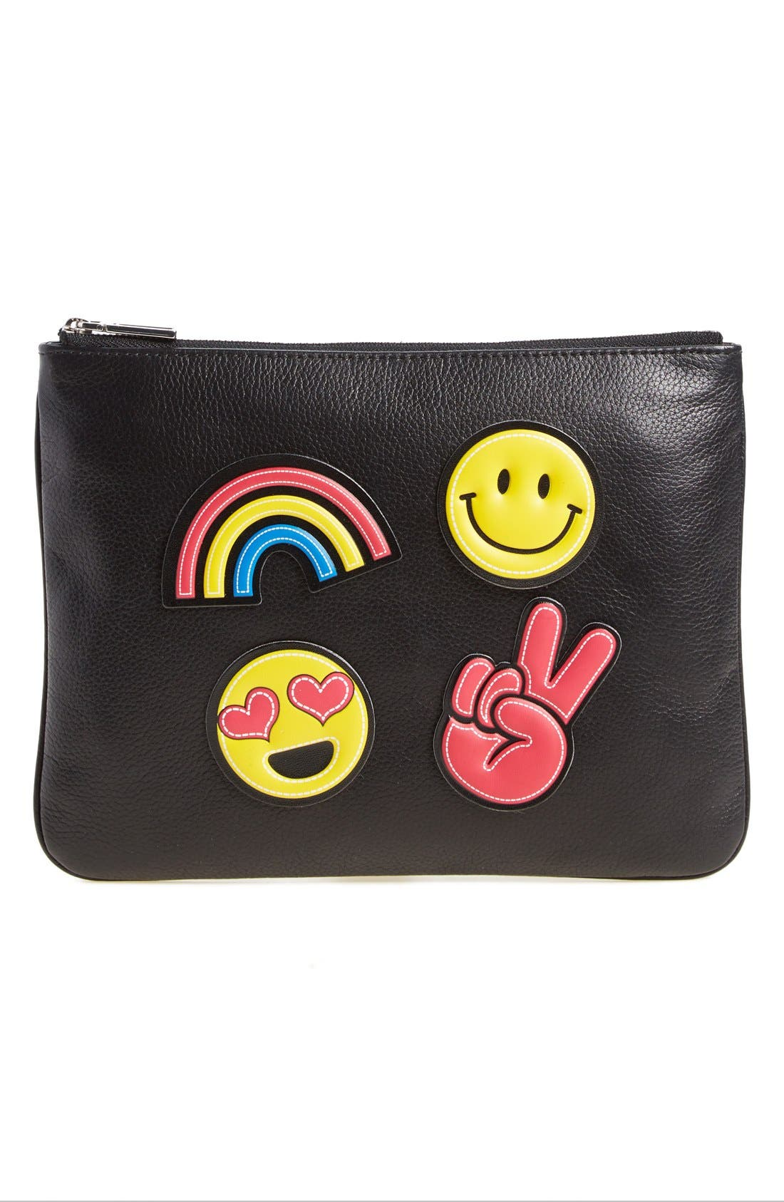 Alternate Image 1 Selected - Rebecca Minkoff 'Good Vibes' Customizable Leather Pouch with Emoji Stickers