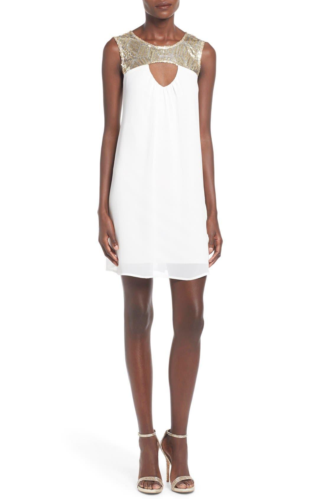 Main Image - Sequin Hearts Sequin Yoke Cutout Shift Dress