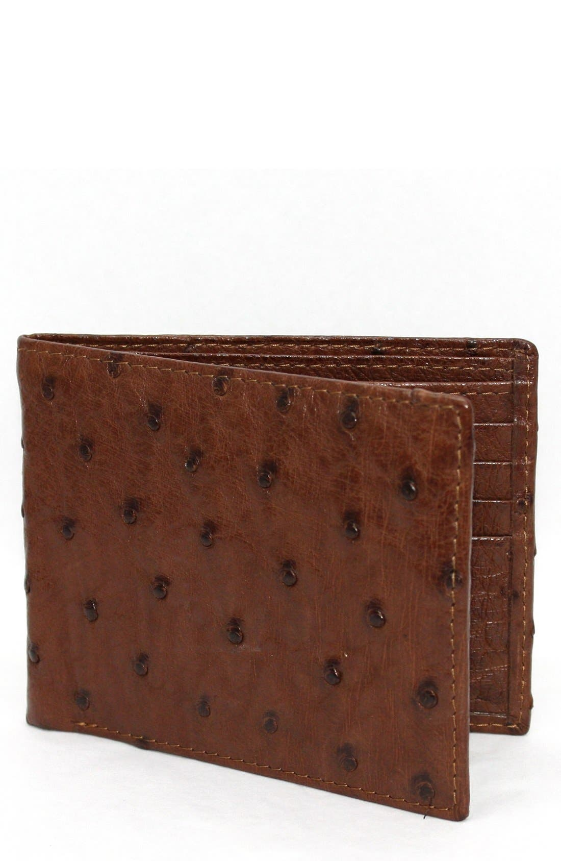 Genuine Ostrich Bifold Wallet,                             Main thumbnail 1, color,                             Brown