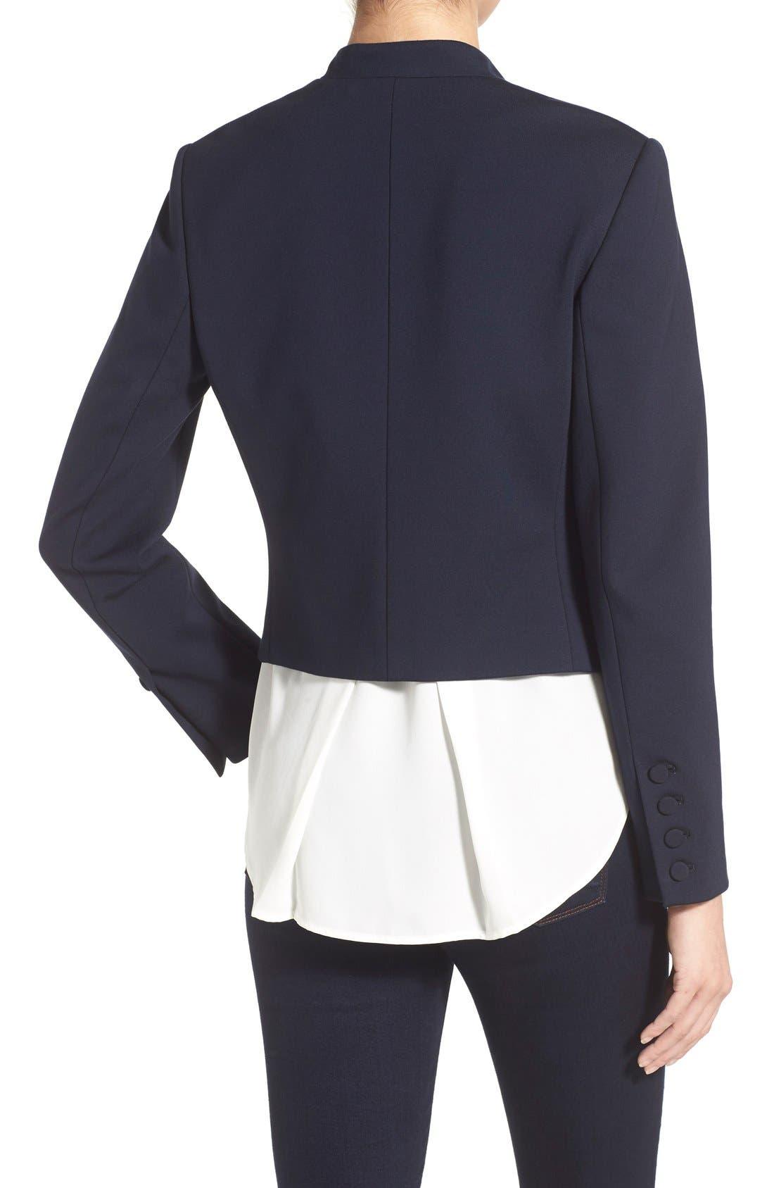 Alternate Image 2  - Ellen Tracy Double Breasted Knit Blazer (Regular & Petite)