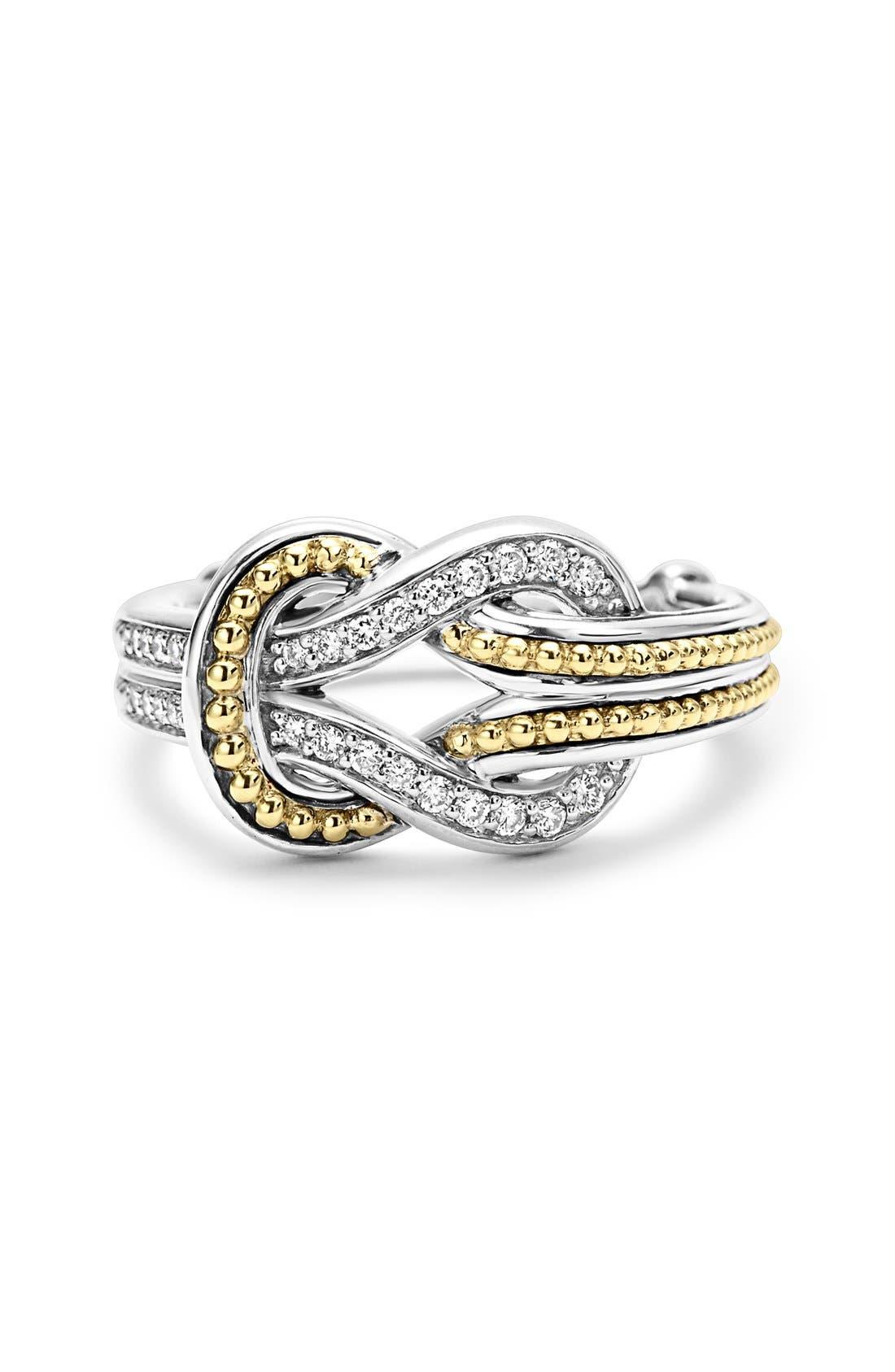 'Newport' Diamond Knot Ring,                             Alternate thumbnail 4, color,                             Silver/ Gold