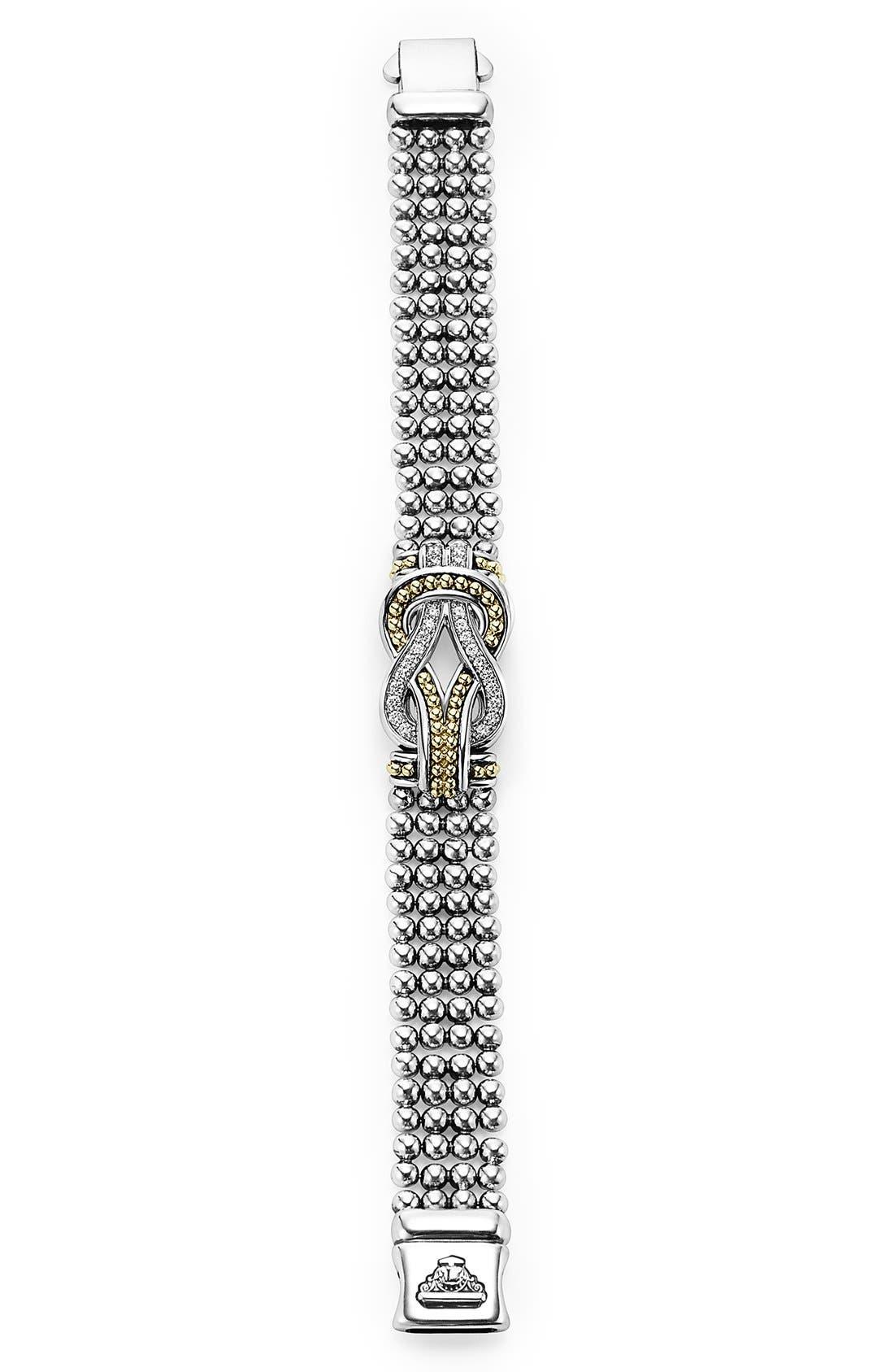 'Newport' Diamond Knot Flat Caviar Bracelet,                             Alternate thumbnail 4, color,                             Silver/ Gold