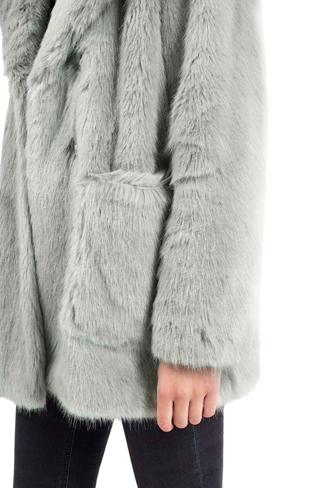Alternate Image 4  - Topshop 'Claire' Faux Fur Coat