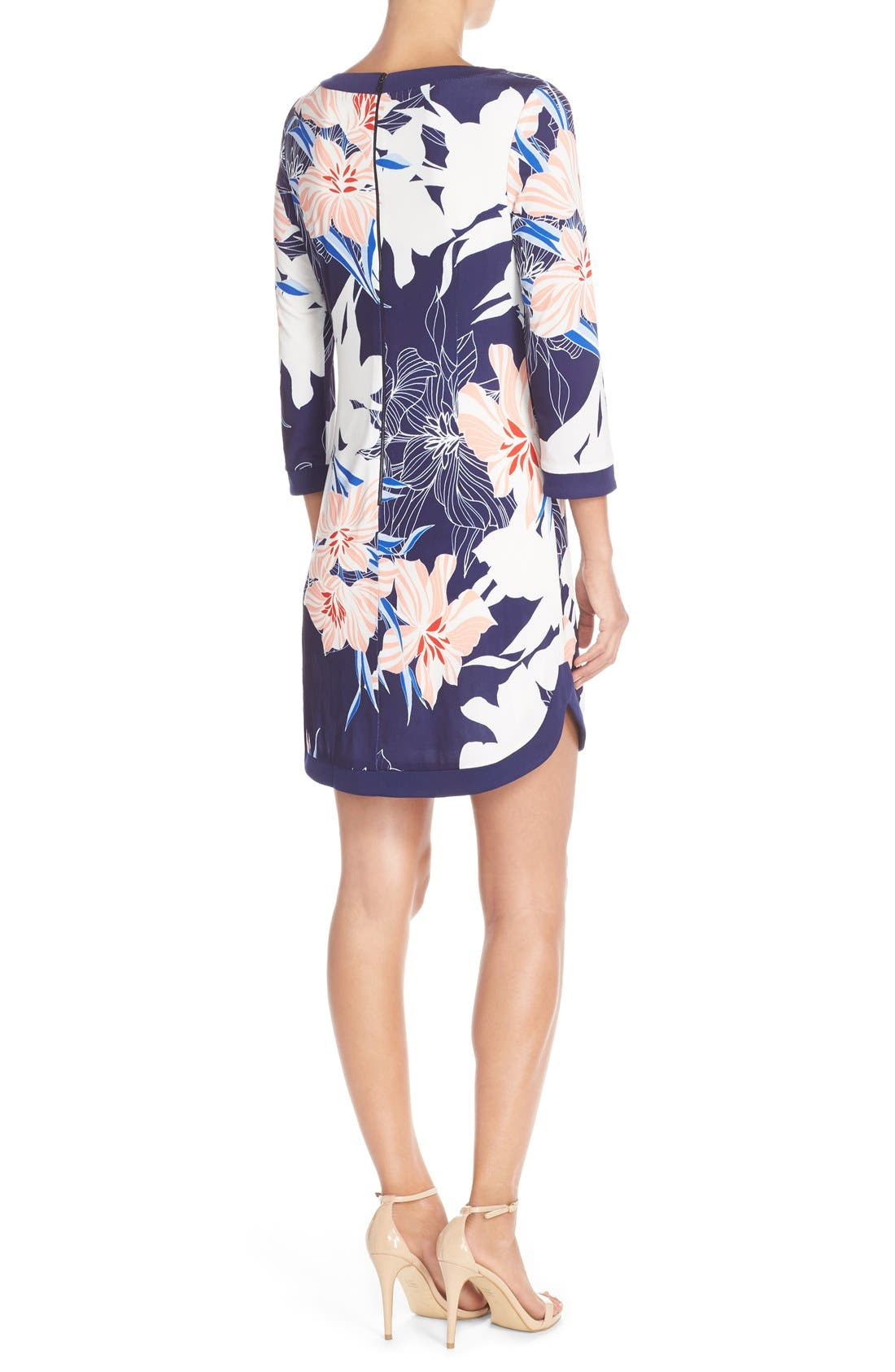 Floral Jersey Shift Dress,                             Alternate thumbnail 2, color,                             Navy