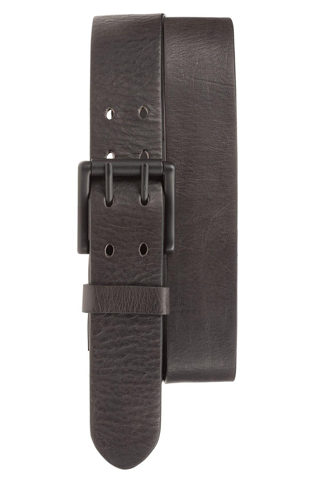 'Electric Flag' Leather Belt,                             Main thumbnail 1, color,                             Black/ Black