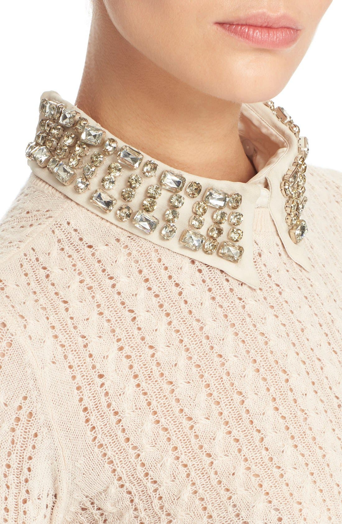 Alternate Image 4  - Alice + Olivia 'Tamsin' Embellished Collar Pointelle Cable Sweater