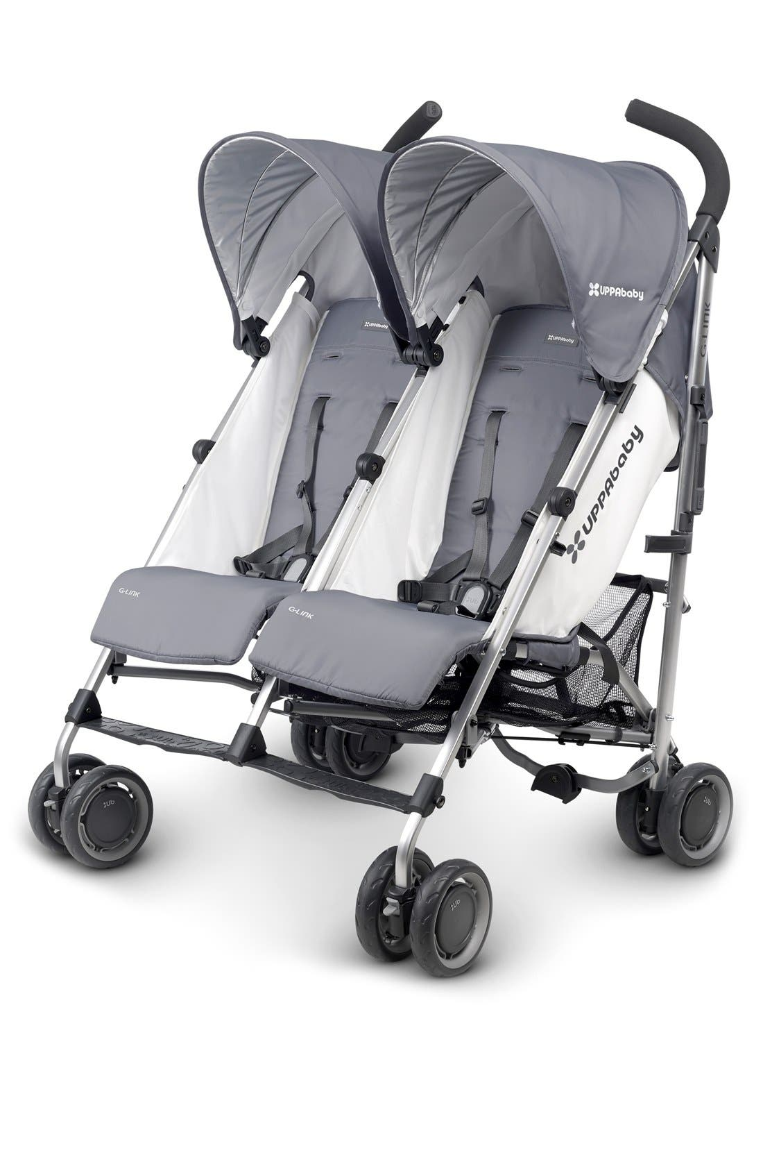 G-LINK Pascal Aluminum Frame Reclining Side by Side Umbrella Stroller,                         Main,                         color, Grey