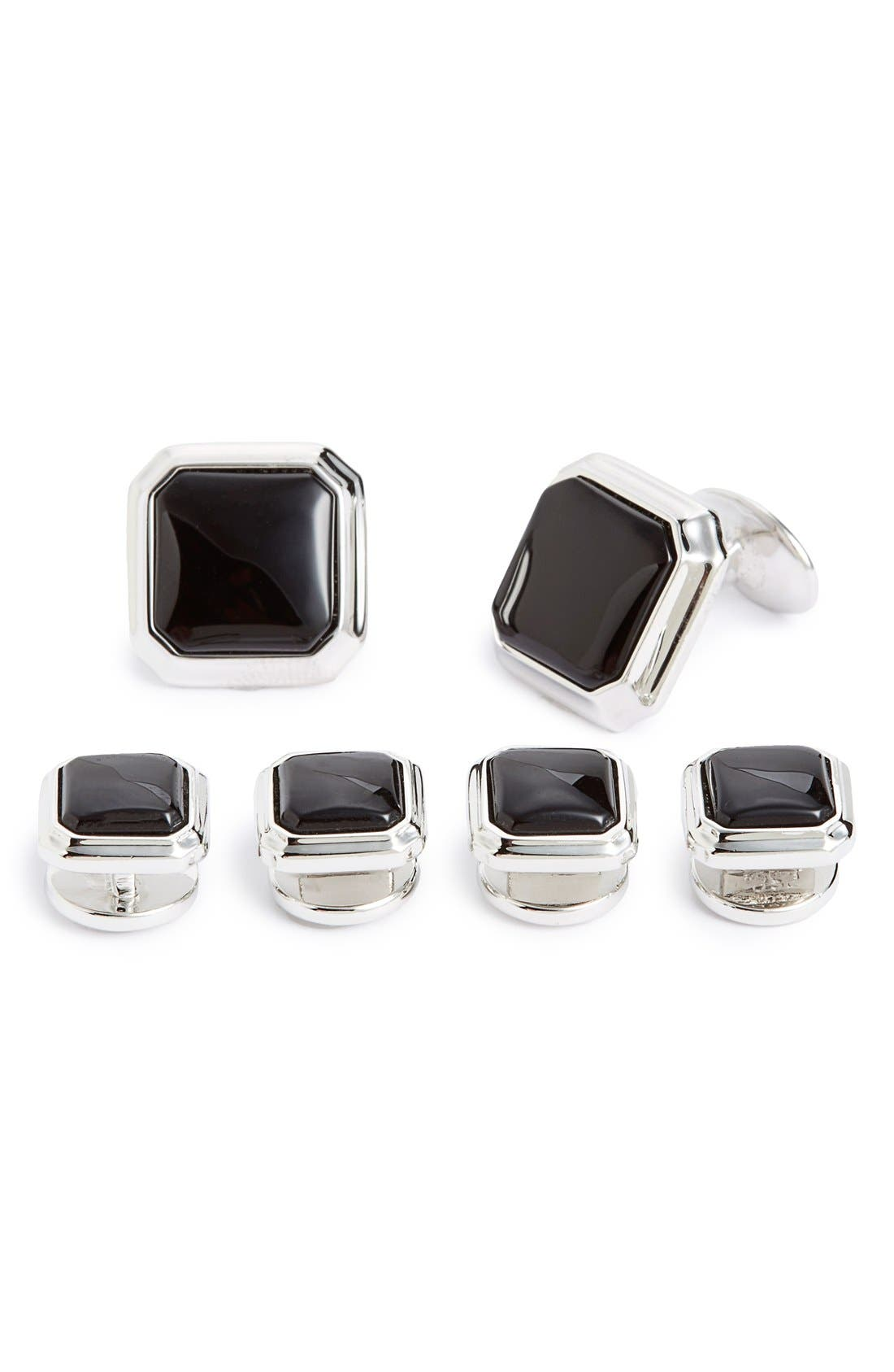 Onyx Cuff Link & Stud Set,                             Main thumbnail 1, color,                             Silver