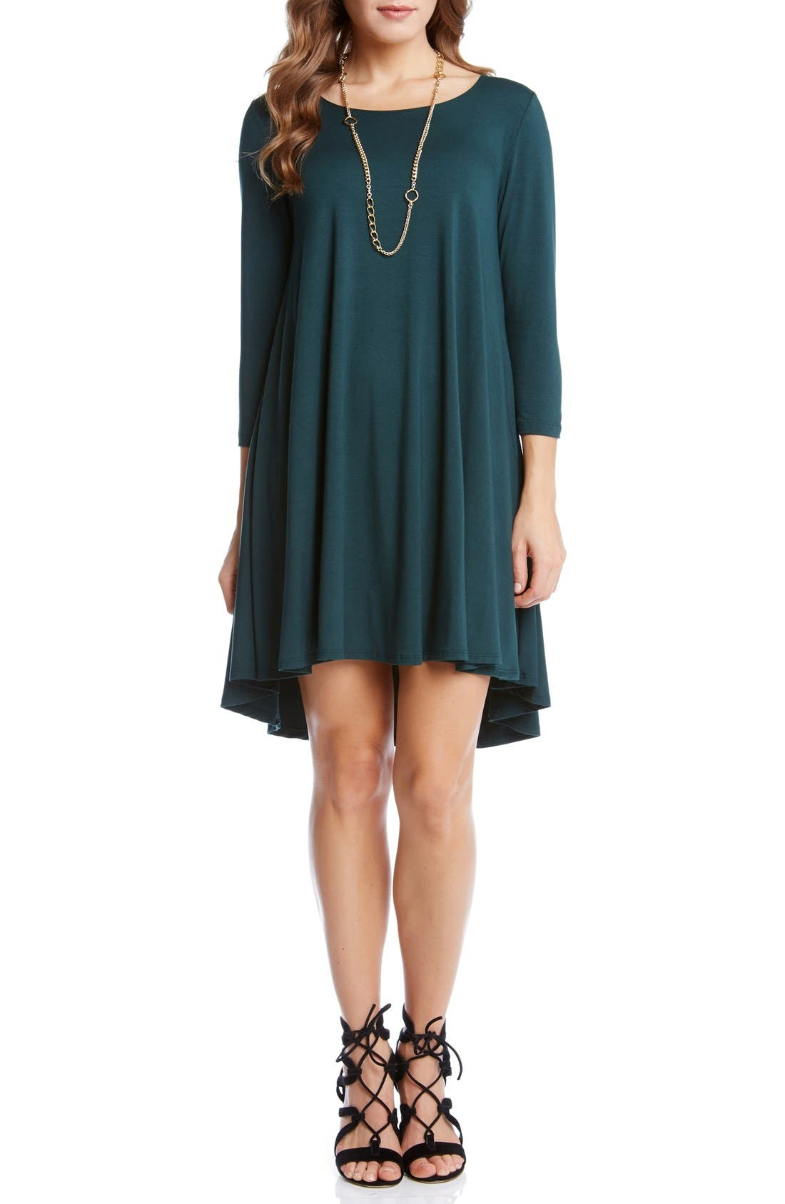 'Maggie' Three Quarter Sleeve Trapeze Dress,                             Main thumbnail 1, color,                             Forest