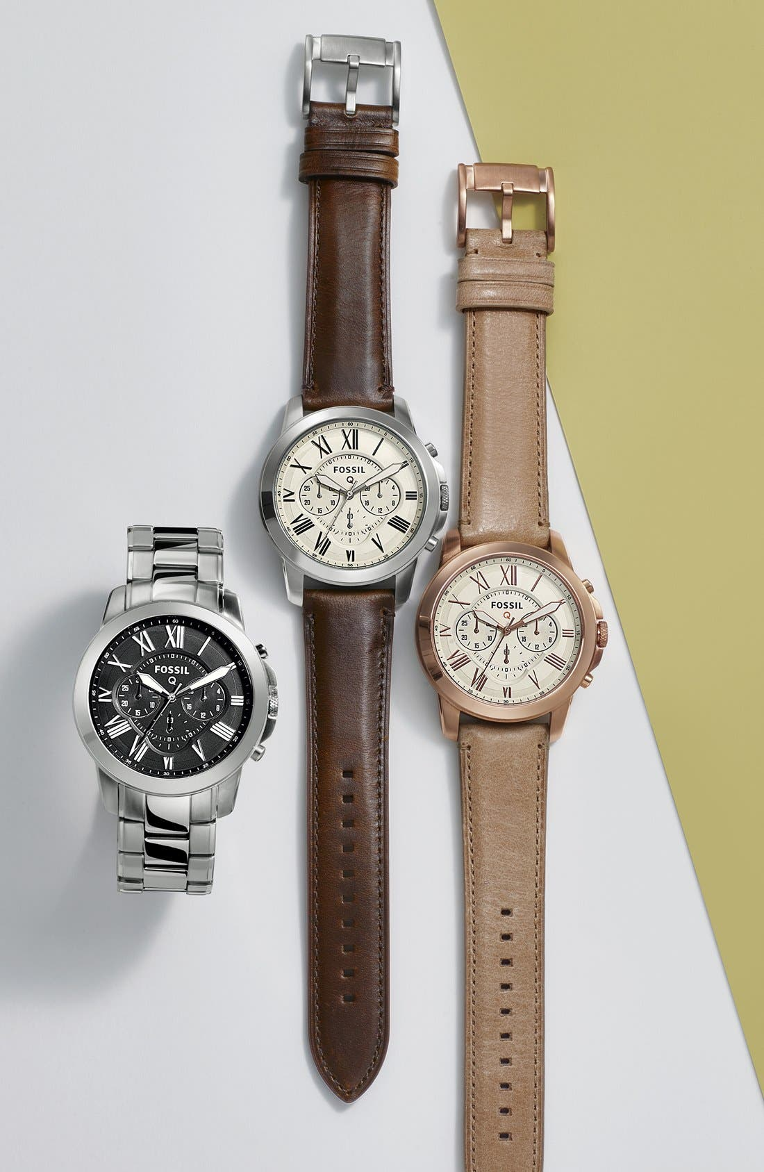 Fossil 'Fossil Q - Grant' Round Chronograph Leather Strap Smart Watch, 44mm,                             Alternate thumbnail 7, color,