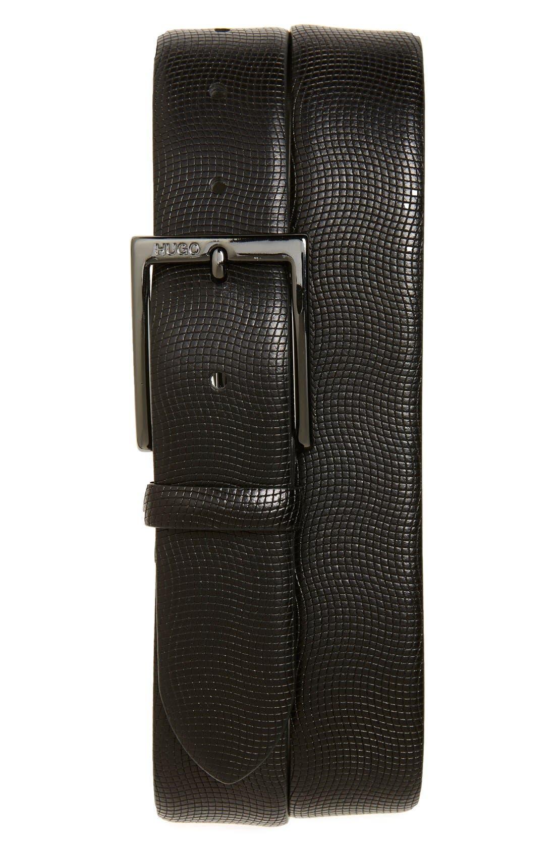 'Perries' Leather Belt,                             Main thumbnail 1, color,                             Black