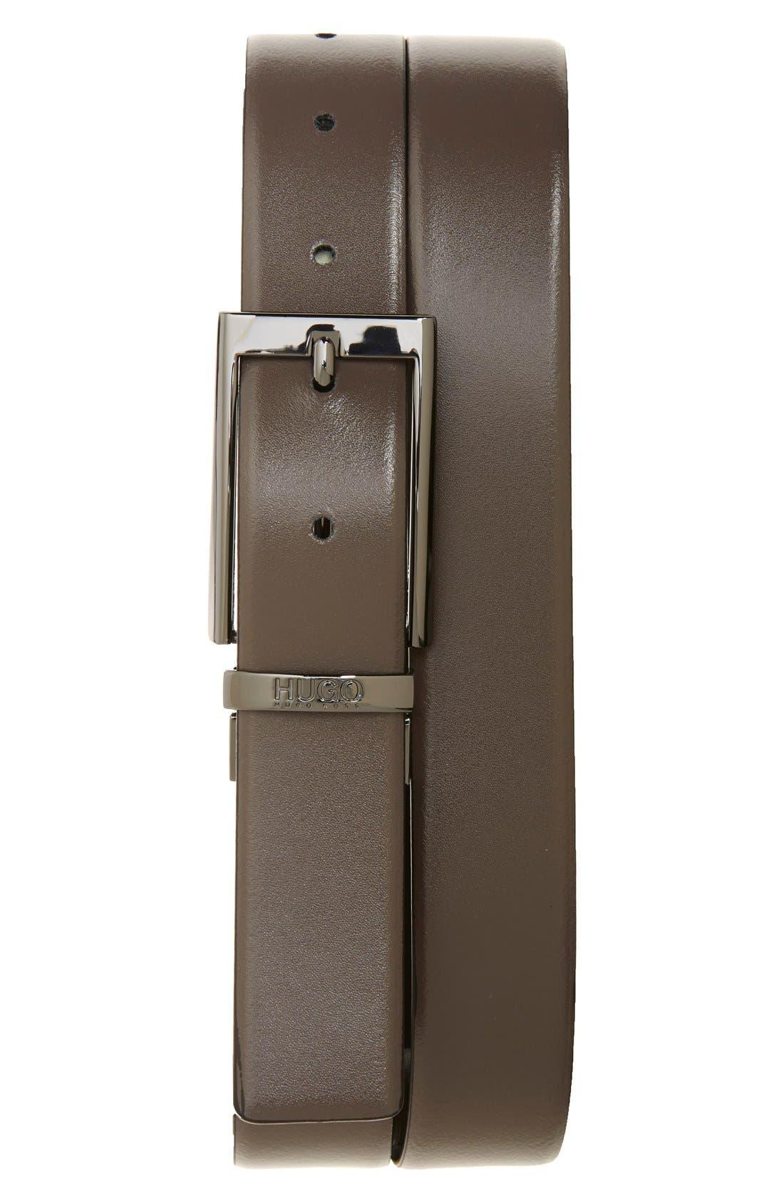 Elvio Reversible Leather Belt,                             Alternate thumbnail 2, color,                             Black/ Grey
