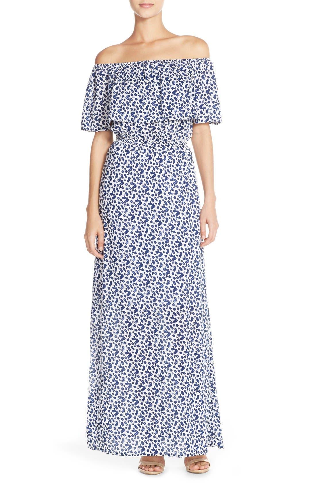 Tie Dye Off Shoulder Maxi Dress,                         Main,                         color, Navy Daisy Print