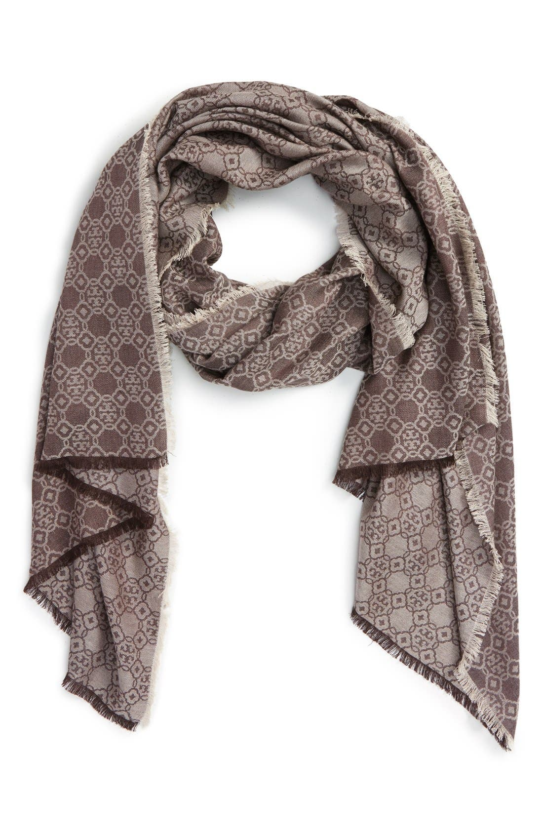 Alternate Image 1 Selected - Tory Burch 'Mosaic Logo' Cotton & Silk Jacquard Scarf