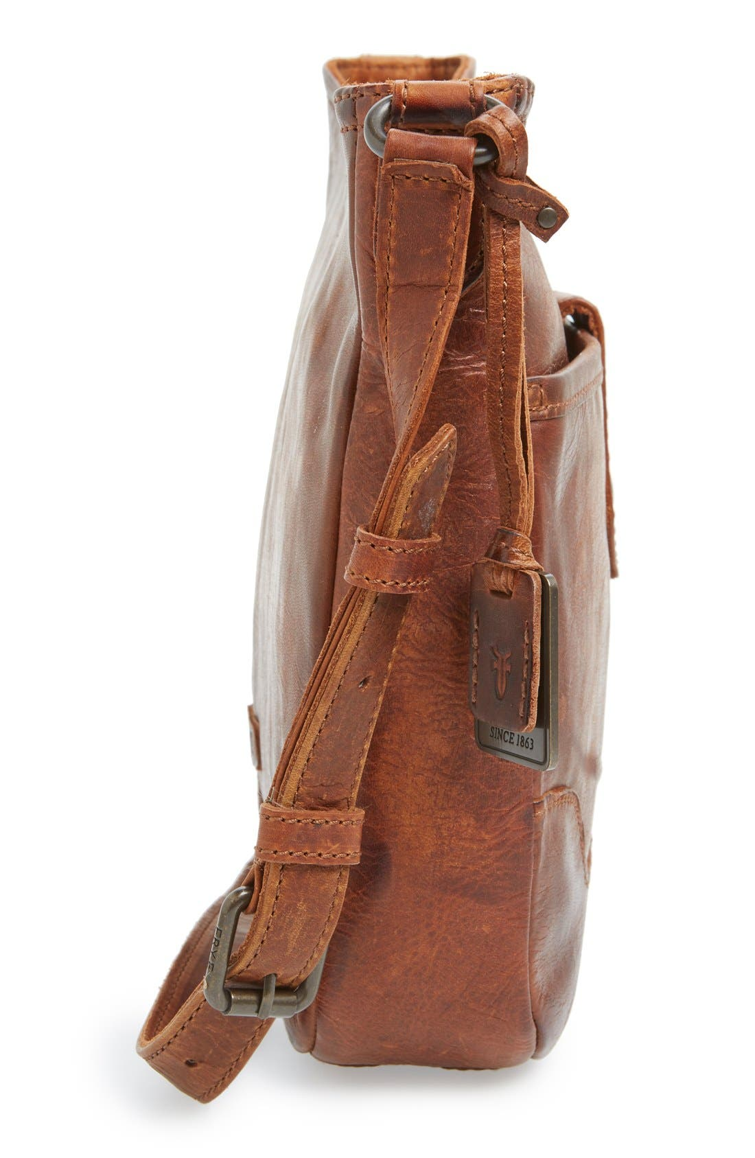 Melissa Button Crossbody Bag,                             Alternate thumbnail 5, color,                             Cognac