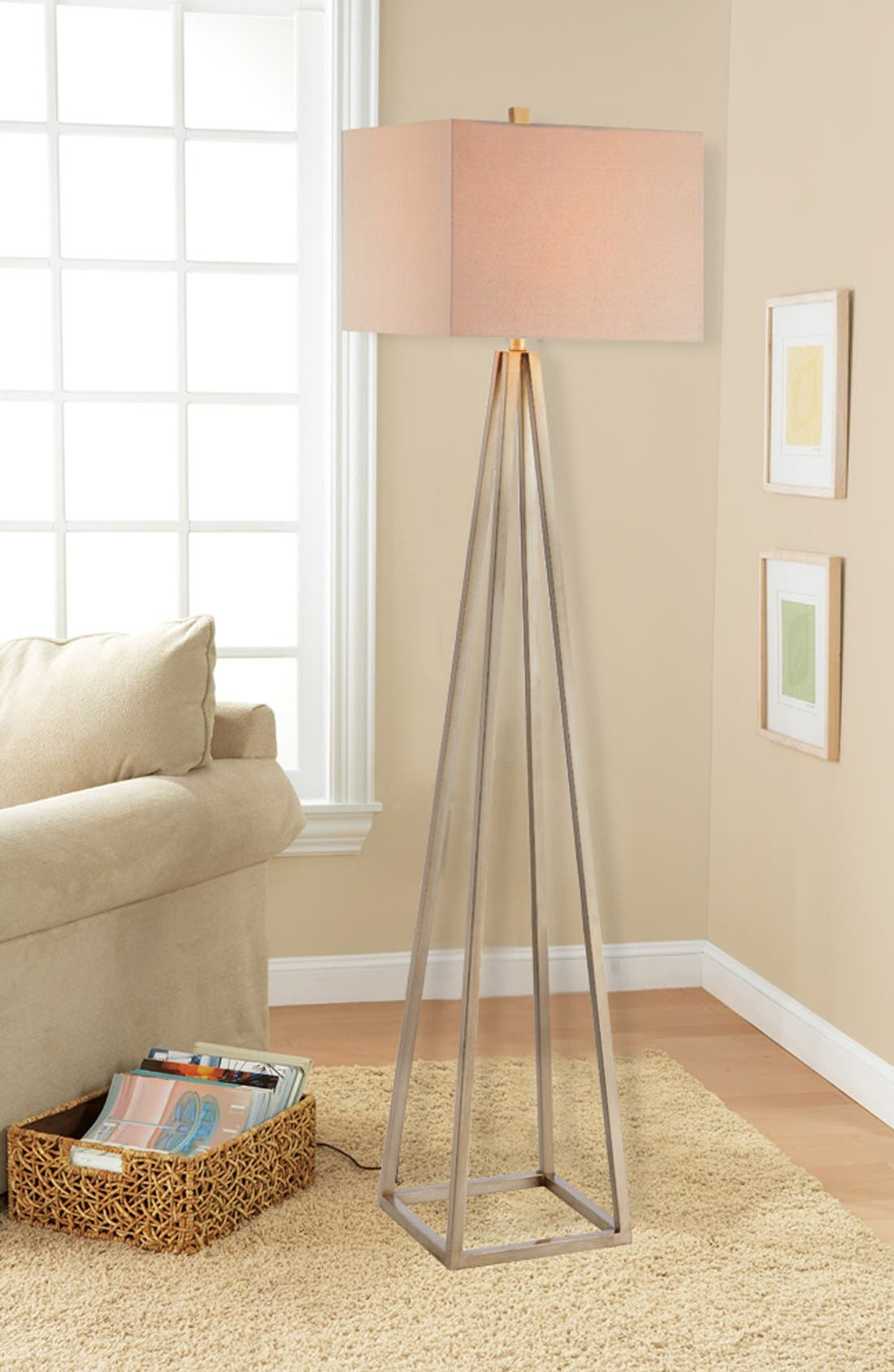 Open Caged Metal Floor Lamp,                             Alternate thumbnail 2, color,                             Gold