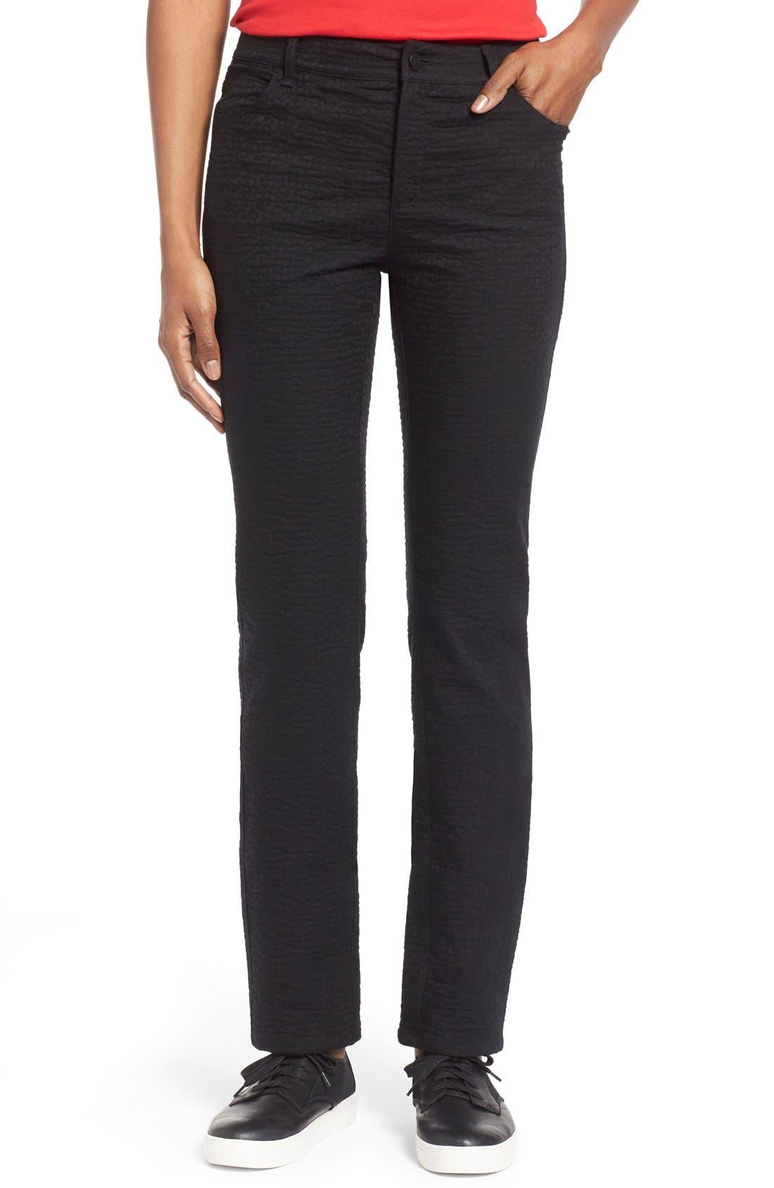 Lafayette 148 New York Curvy Fit Jacquard Stretch Slim Leg Jeans (Black) (Regular & Petite)