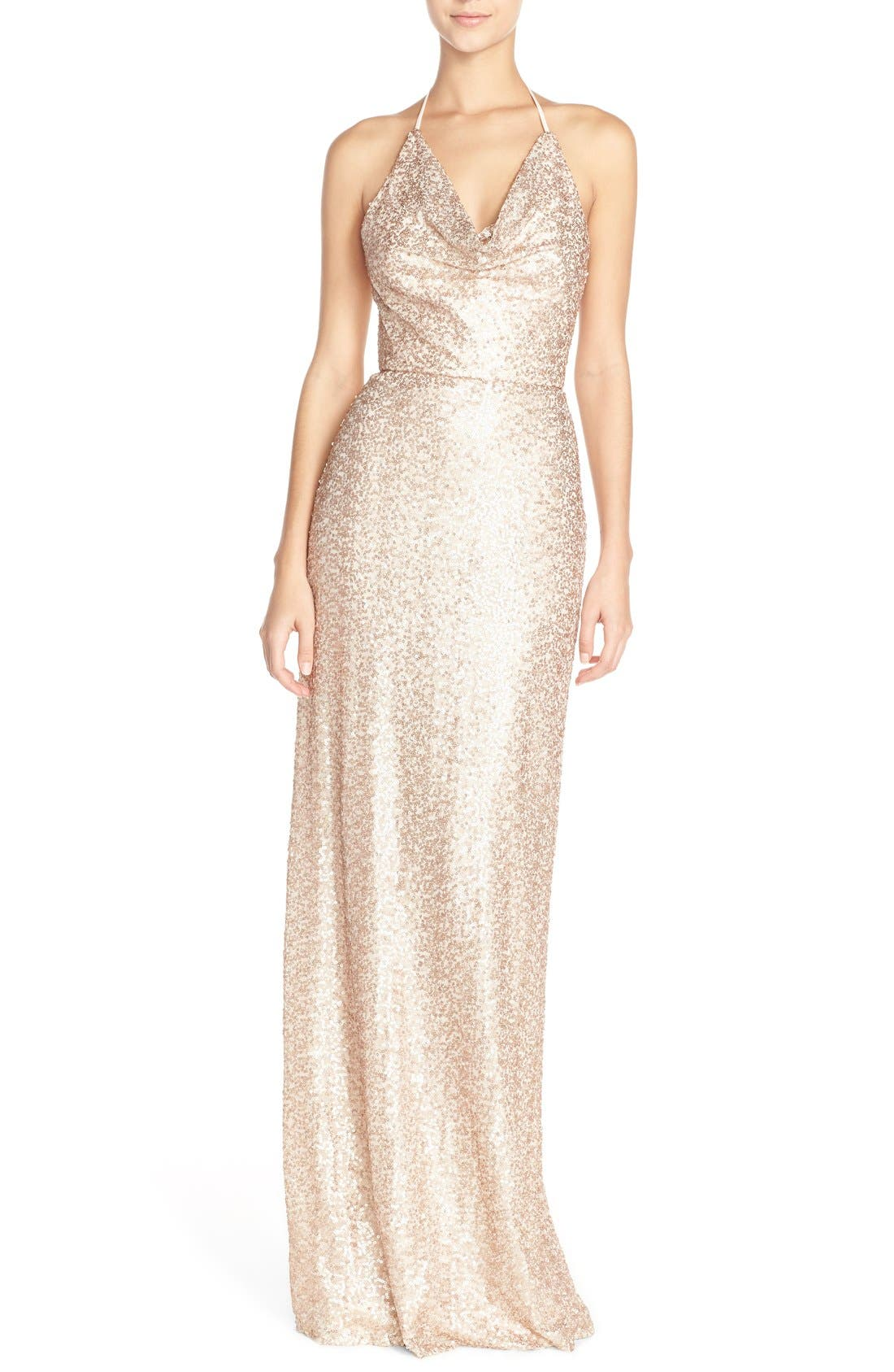'Honora' Draped Sequin Tulle Halter Gown,                         Main,                         color, Rose Gold