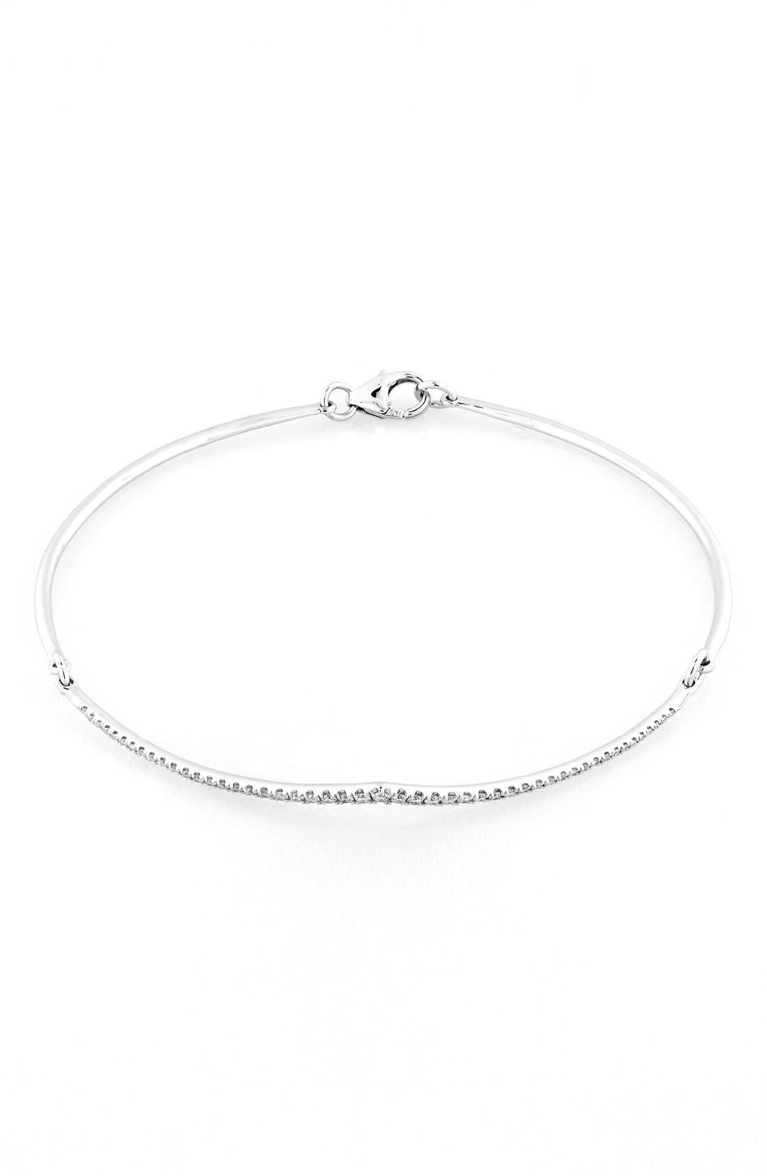 Pavé Diamond Bangle Bracelet,                             Alternate thumbnail 2, color,                             White Gold