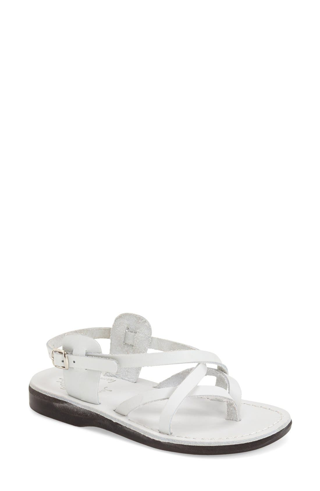 'Tamar' Strappy Sandal,                             Main thumbnail 1, color,                             White Leather