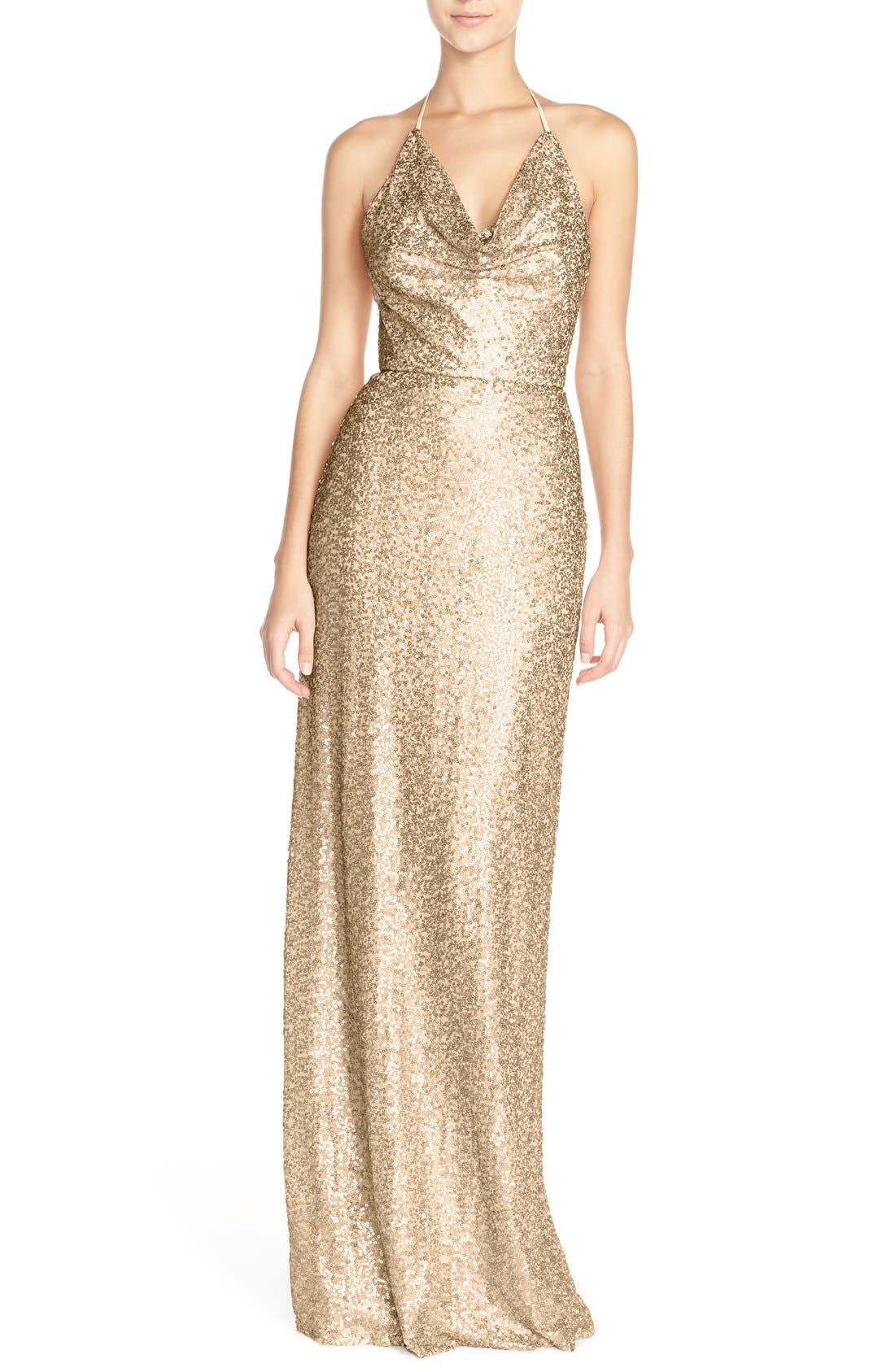 AMSALE Honora Draped Sequin Tulle Halter Gown