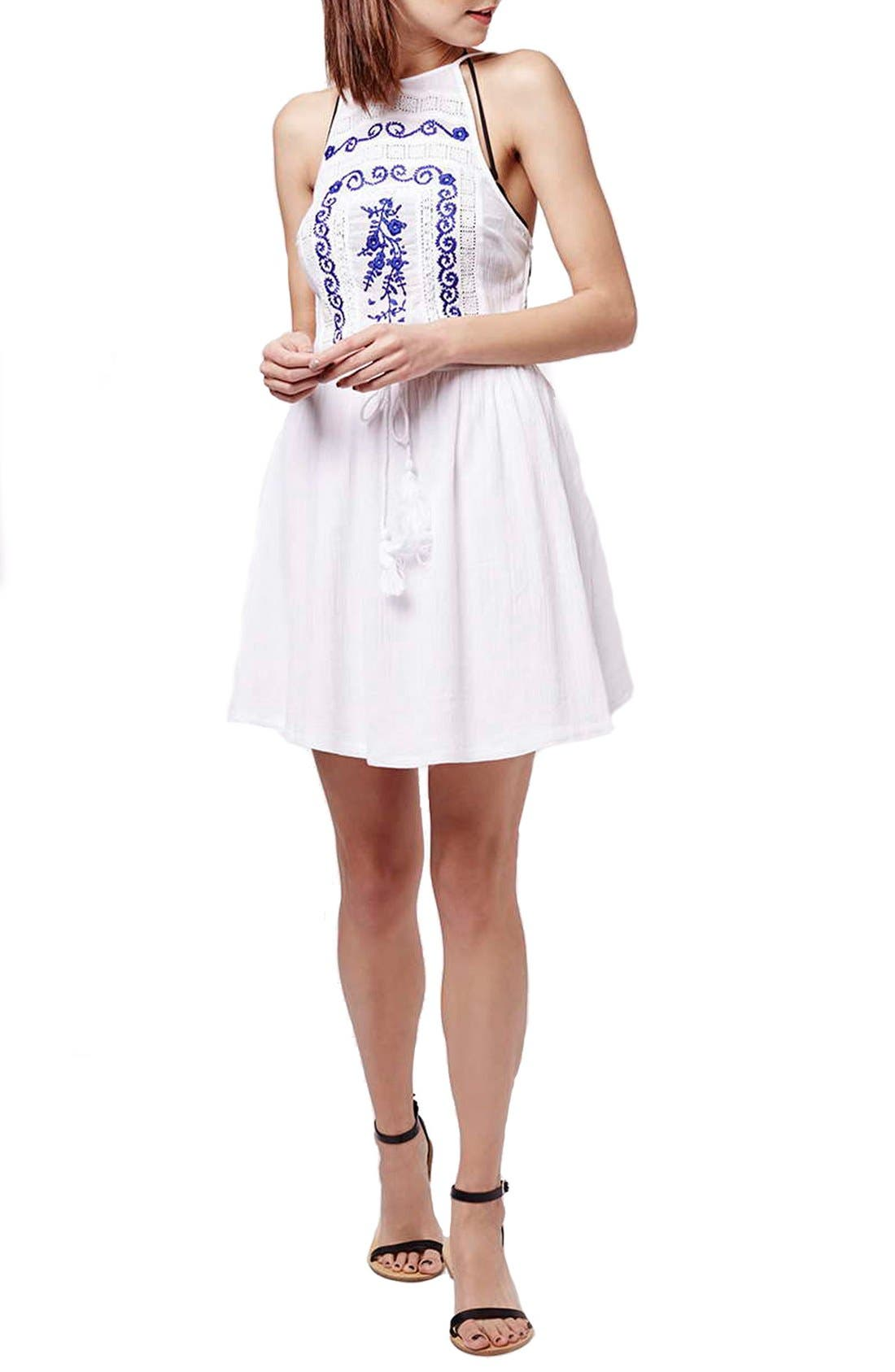 Main Image - Topshop 'Claud' Embroidered Sleeveless Sundress Cover-Up