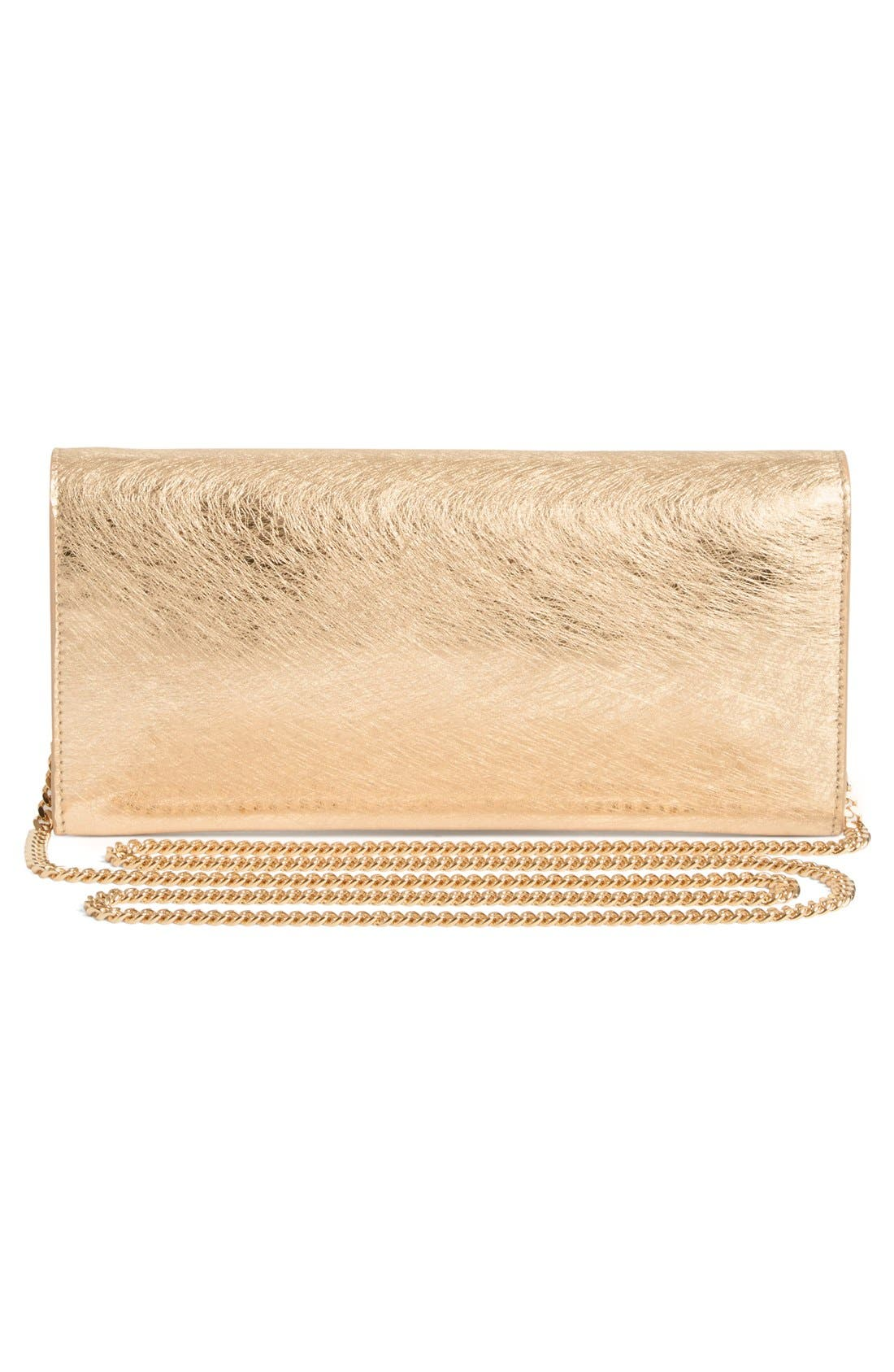 'Milla' Etched Metallic Spazzolato Leather Flap Clutch,                             Alternate thumbnail 2, color,                             Gold